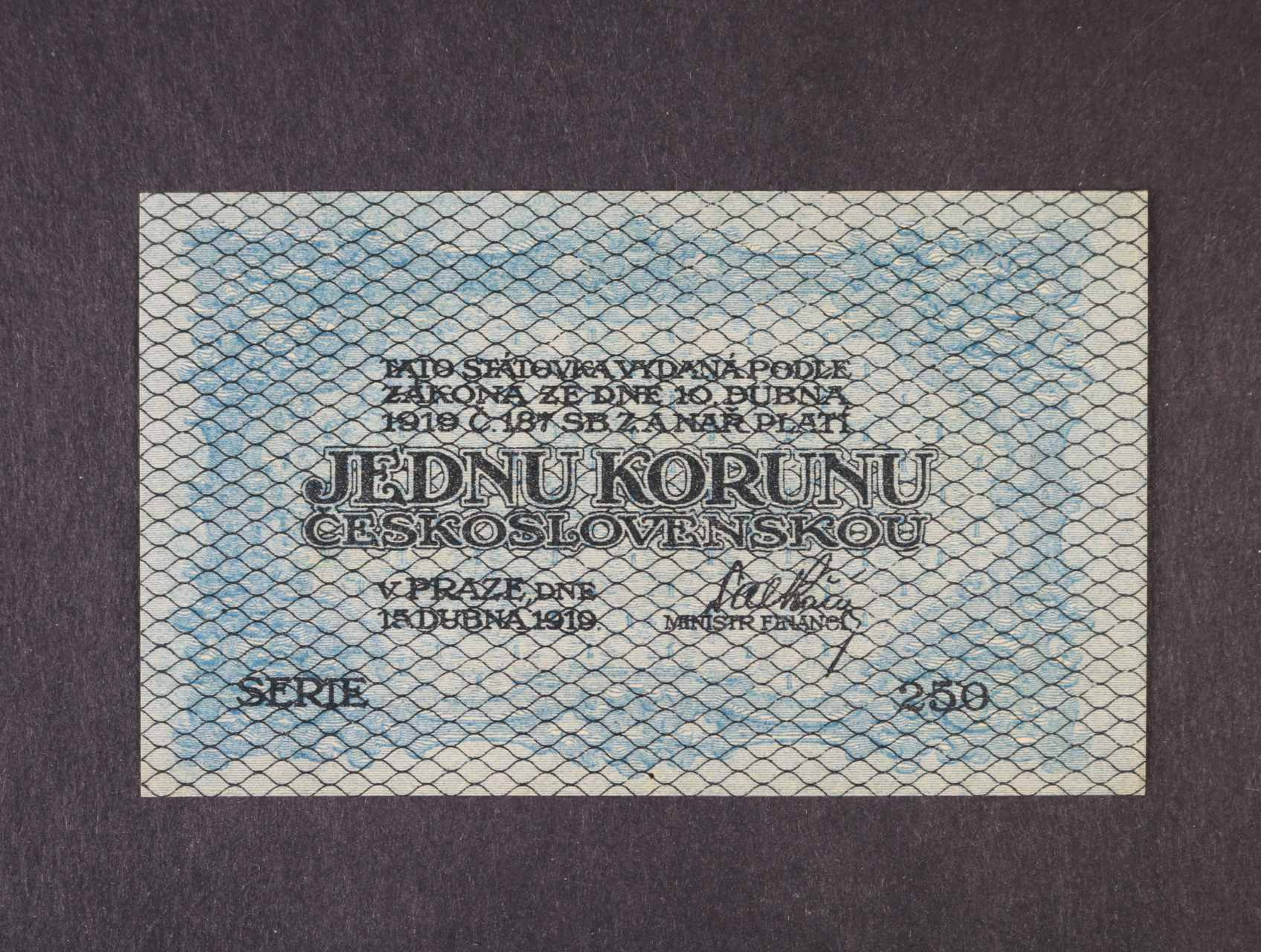 1 Kč 15.4.1919 série 250, modro zelená, Ba. 7, Pi. 6a