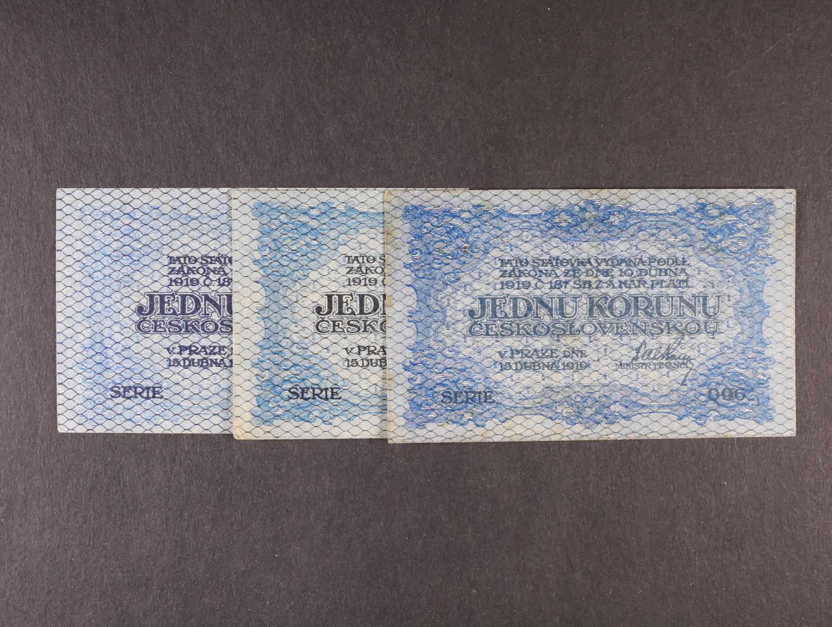 1 Kč 15.4.1919 série 062, 096, 143, modré, Ba. 7, Pi. 6a