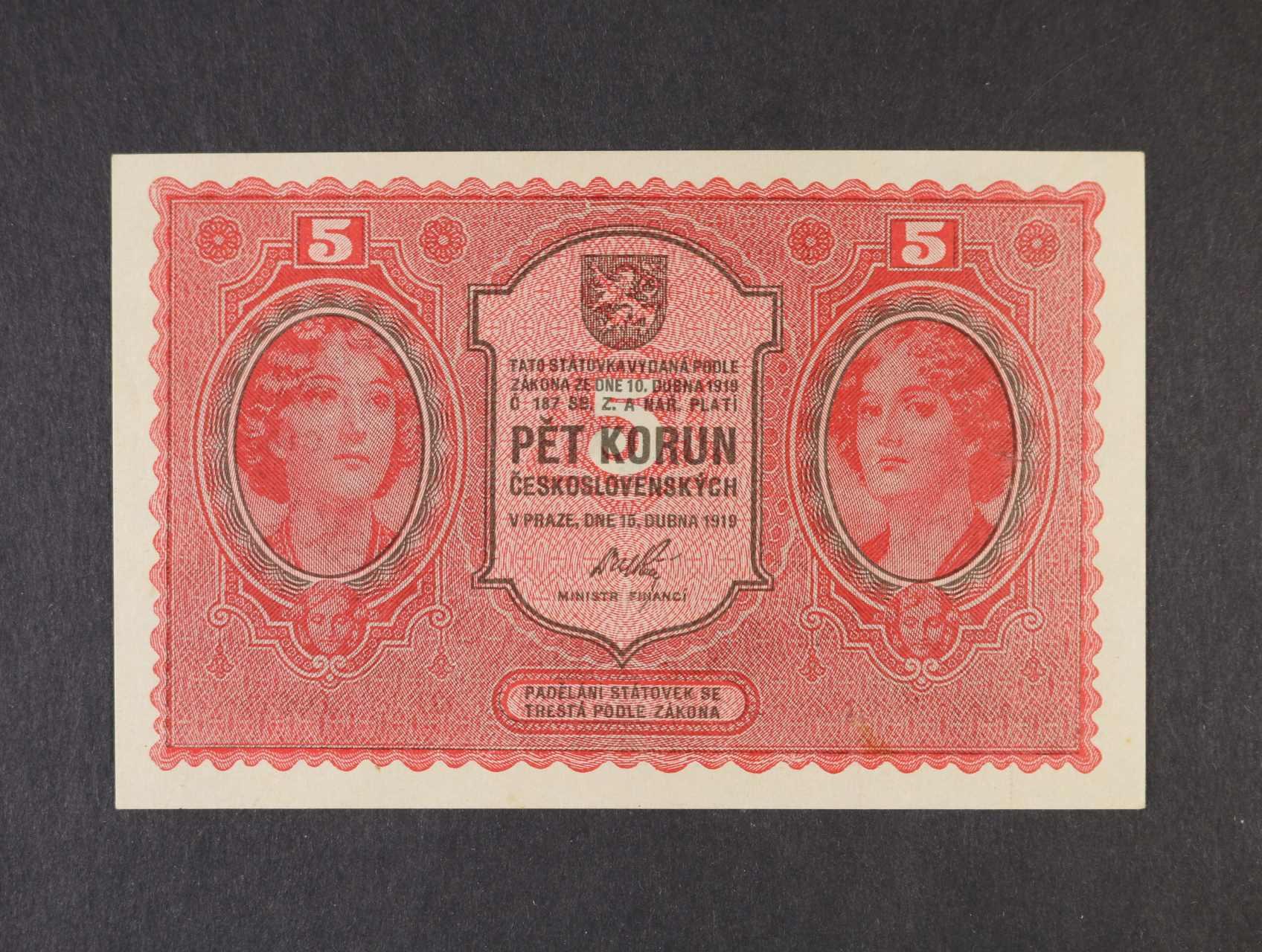 5 Kč 15.4.1919 série 0163, Ba. 8, Pi. 7a