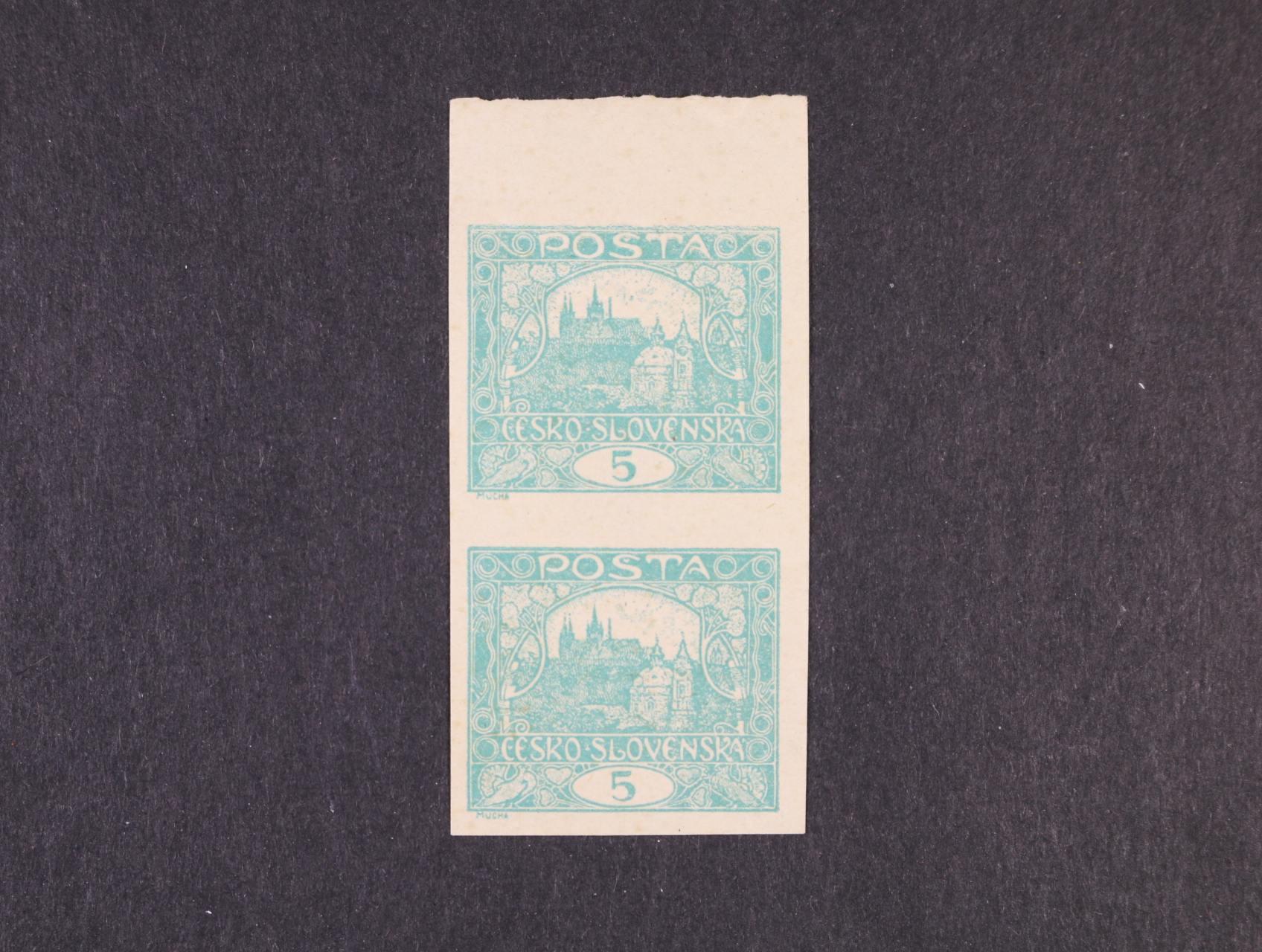 zn. č. 4 ve svislé dvoupásce s horním okrajem, tlustý papír