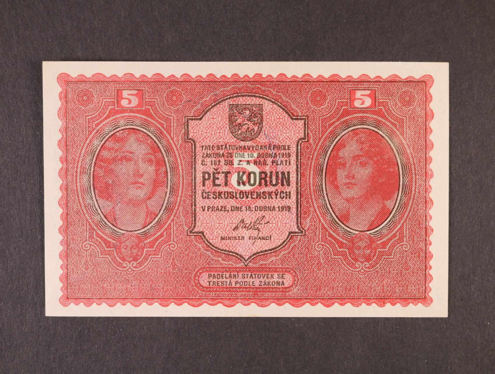 5 Kč 15.4.1919 série 0044, Ba. 8, Pi. 7a