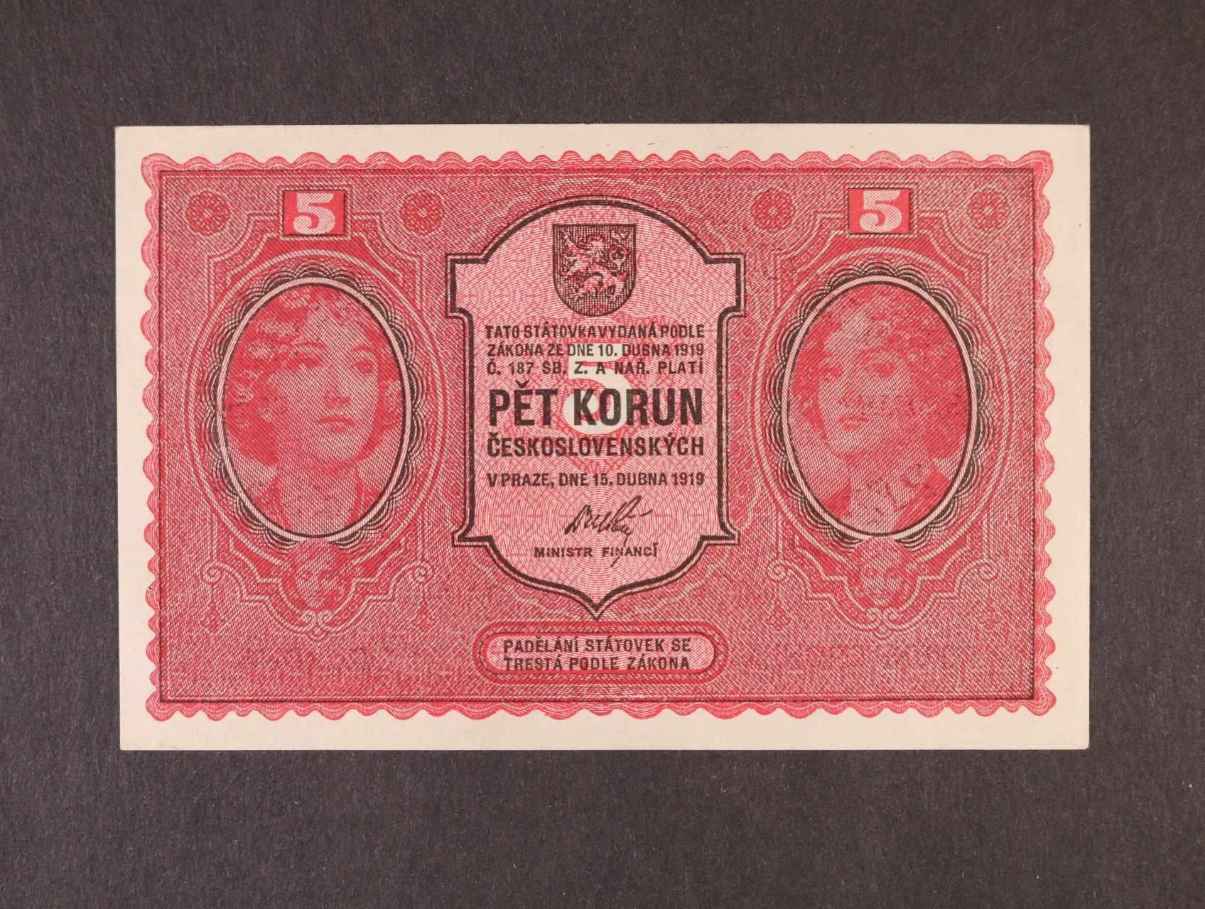 5 Kč 15.4.1919 série 0060, Ba. 8, Pi. 7a