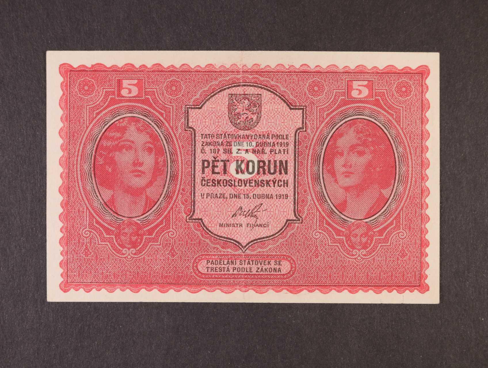 5 Kč 15.4.1919 série 0026, Ba. 8, Pi. 7a