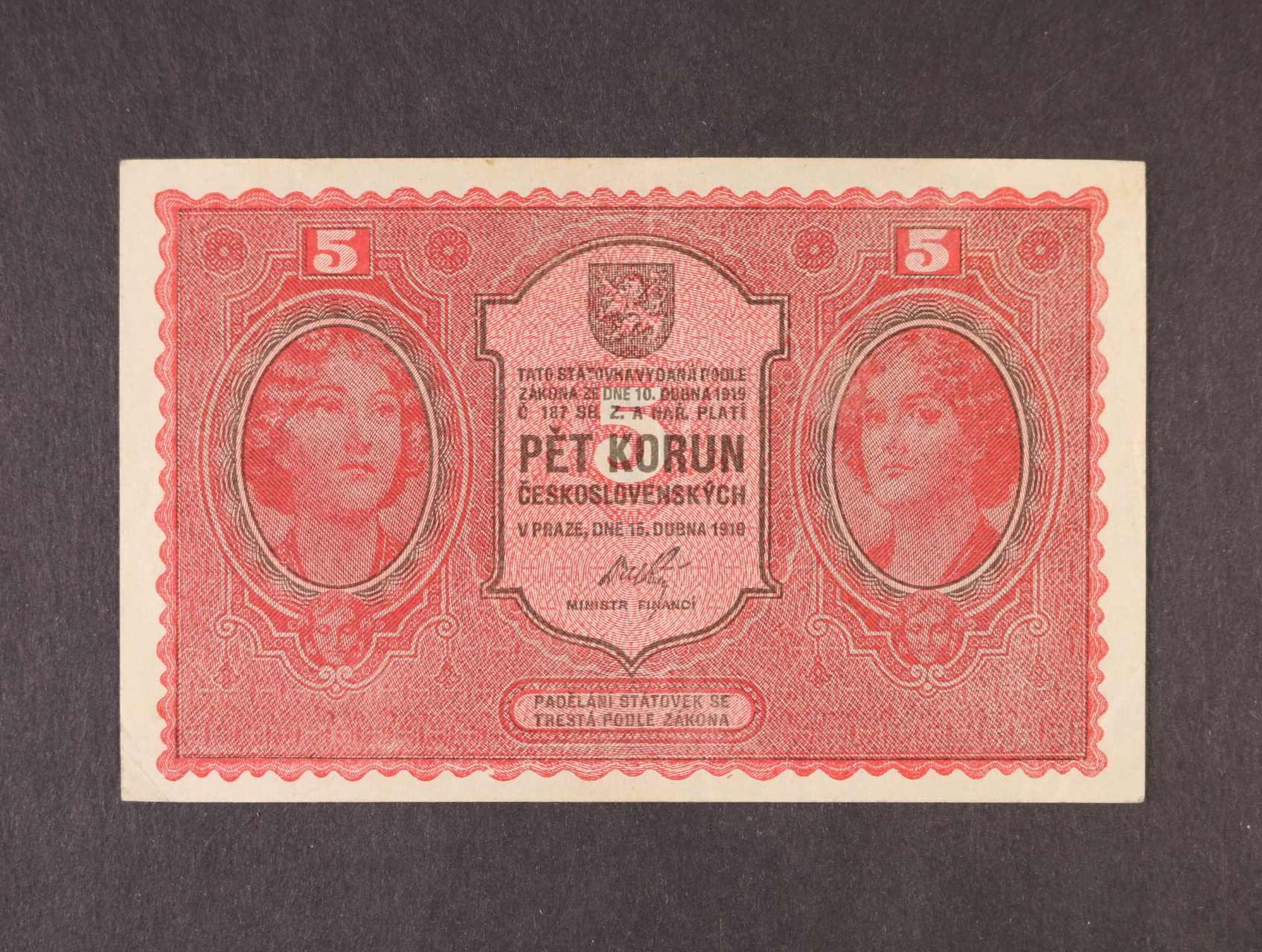 5 Kč 15.4.1919 série 0139, Ba. 8, Pi. 7a