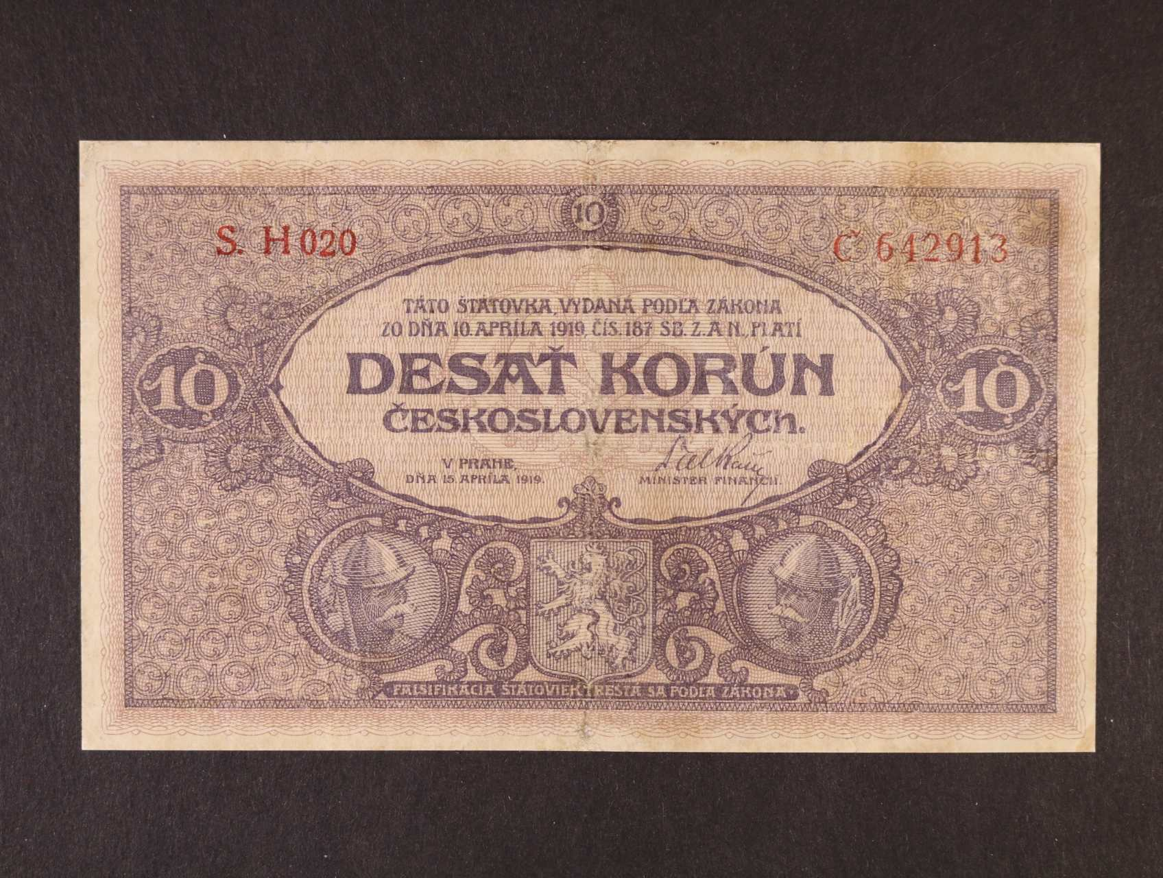 10 Kč 15.4.1919 série H 020, Ba. 9a, Pi. 8
