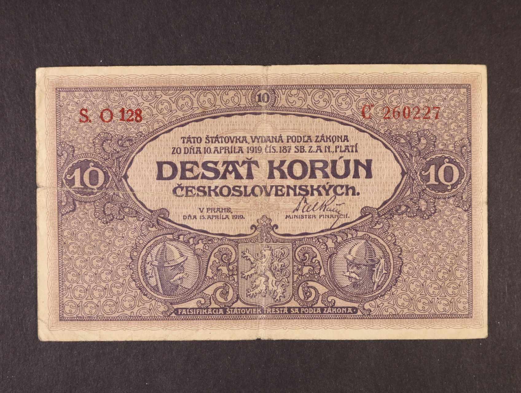 10 Kč 15.4.1919 série O 128, Ba. 9b, Pi. 8