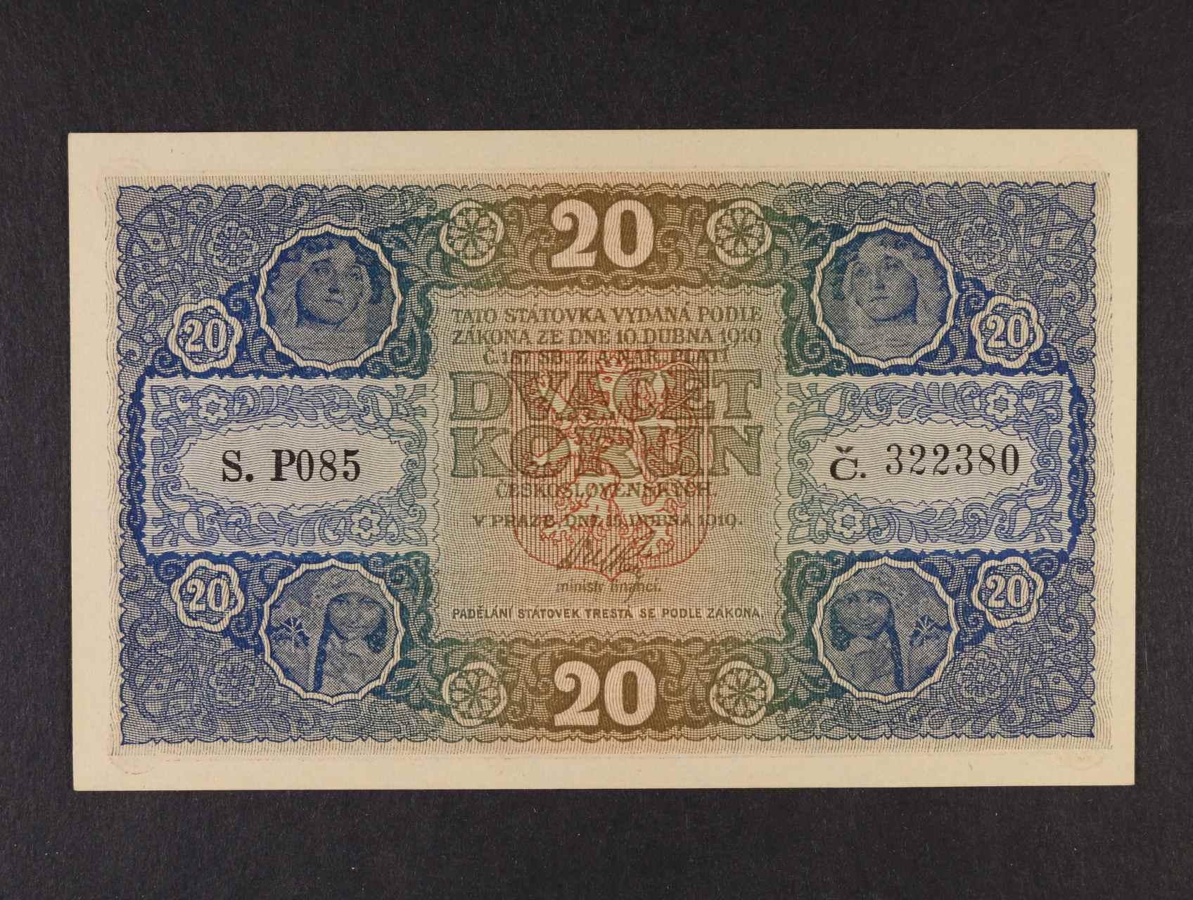 20 Kč 15.4.1919 série P 085,  Ba. 10a, Pi. 9a