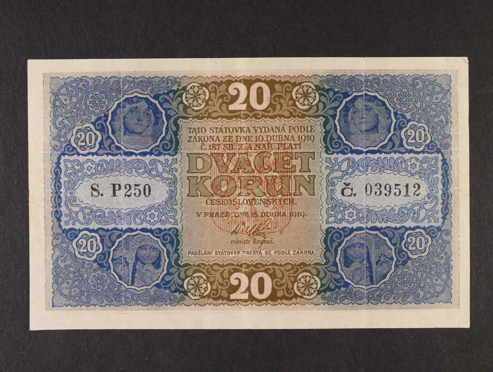 20 Kč 15.4.1919 série P 250, Ba. 10a, Pi. 9a