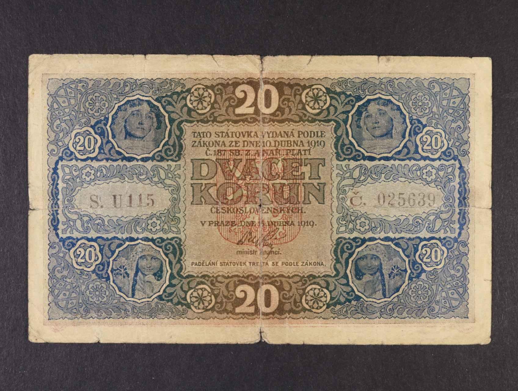 20 Kč 15.4.1919 série U 115,  Ba. 10b, Pi. 9a