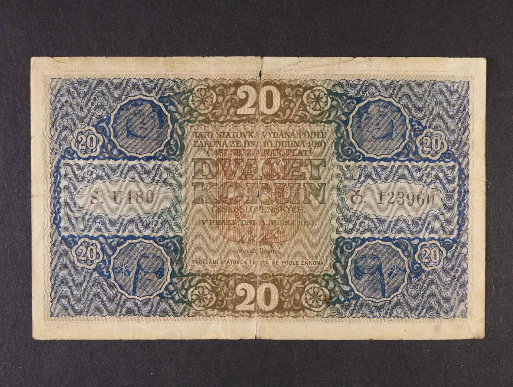 20 Kč 15.4.1919 série U 180,  Ba. 10b, Pi. 9a