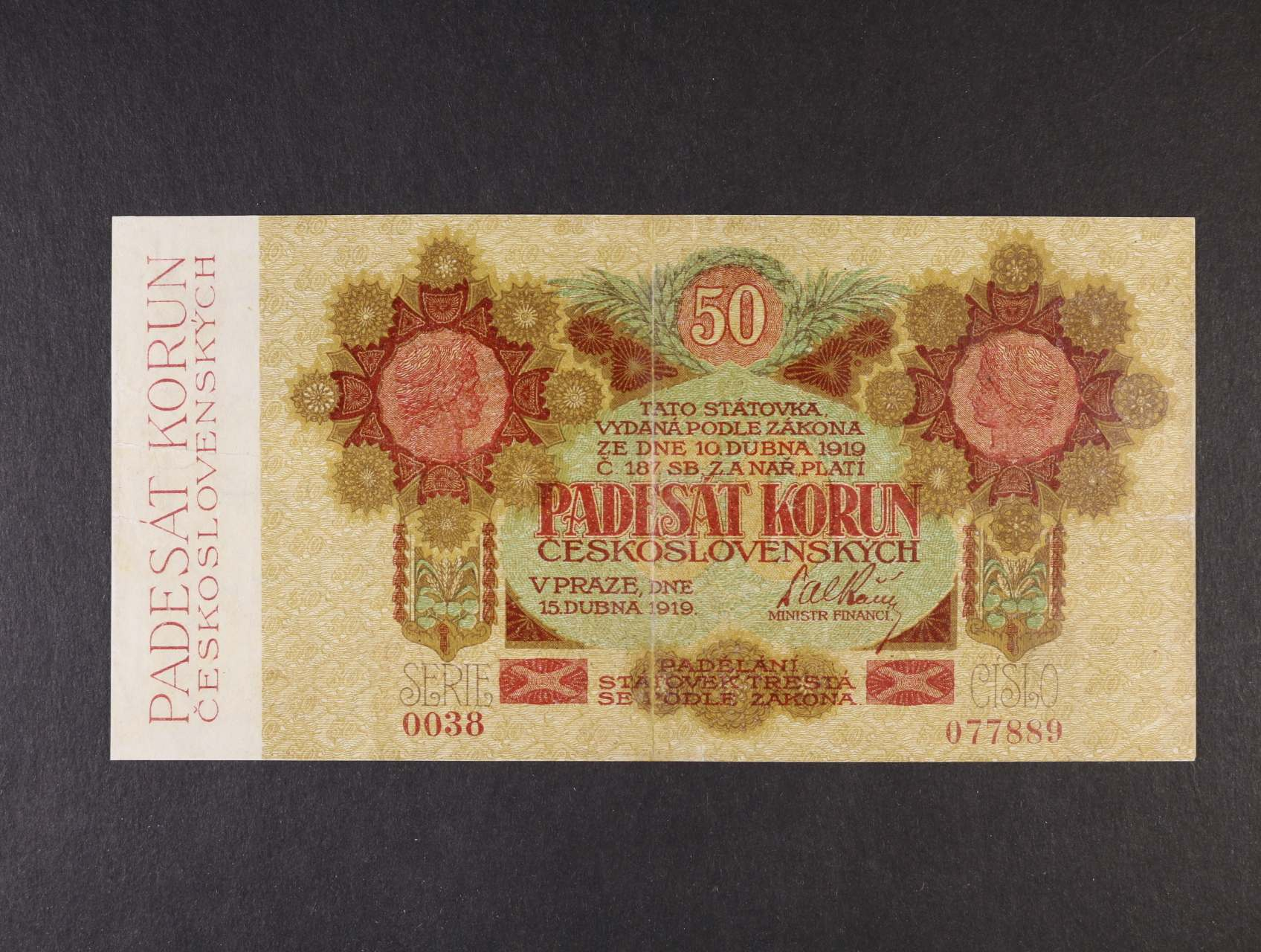50 Kč 15.4.1919 série 0038 úzké číslice, Ba. 11a, Pi. 10a