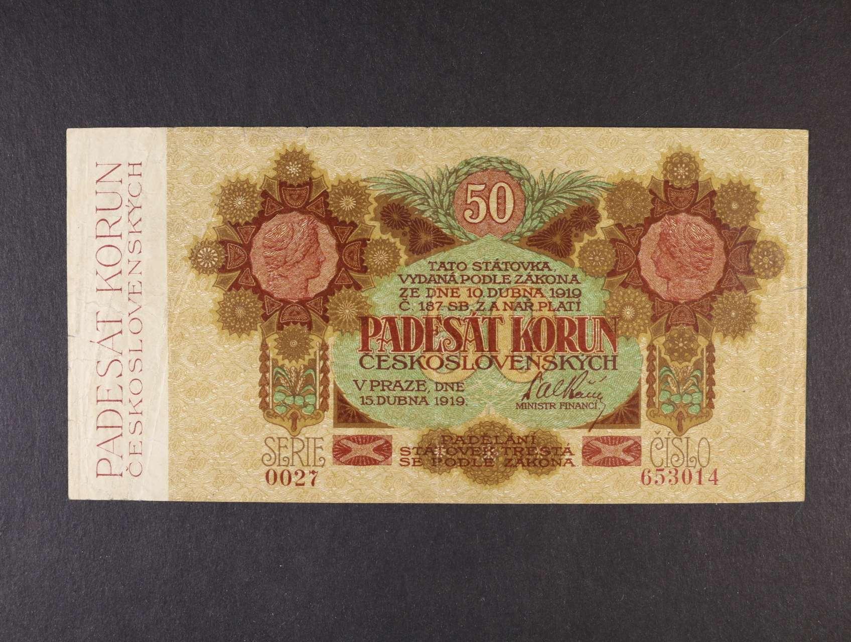 50 Kč 15.4.1919 série 0027 úzké číslice, Ba. 11a, Pi. 10a