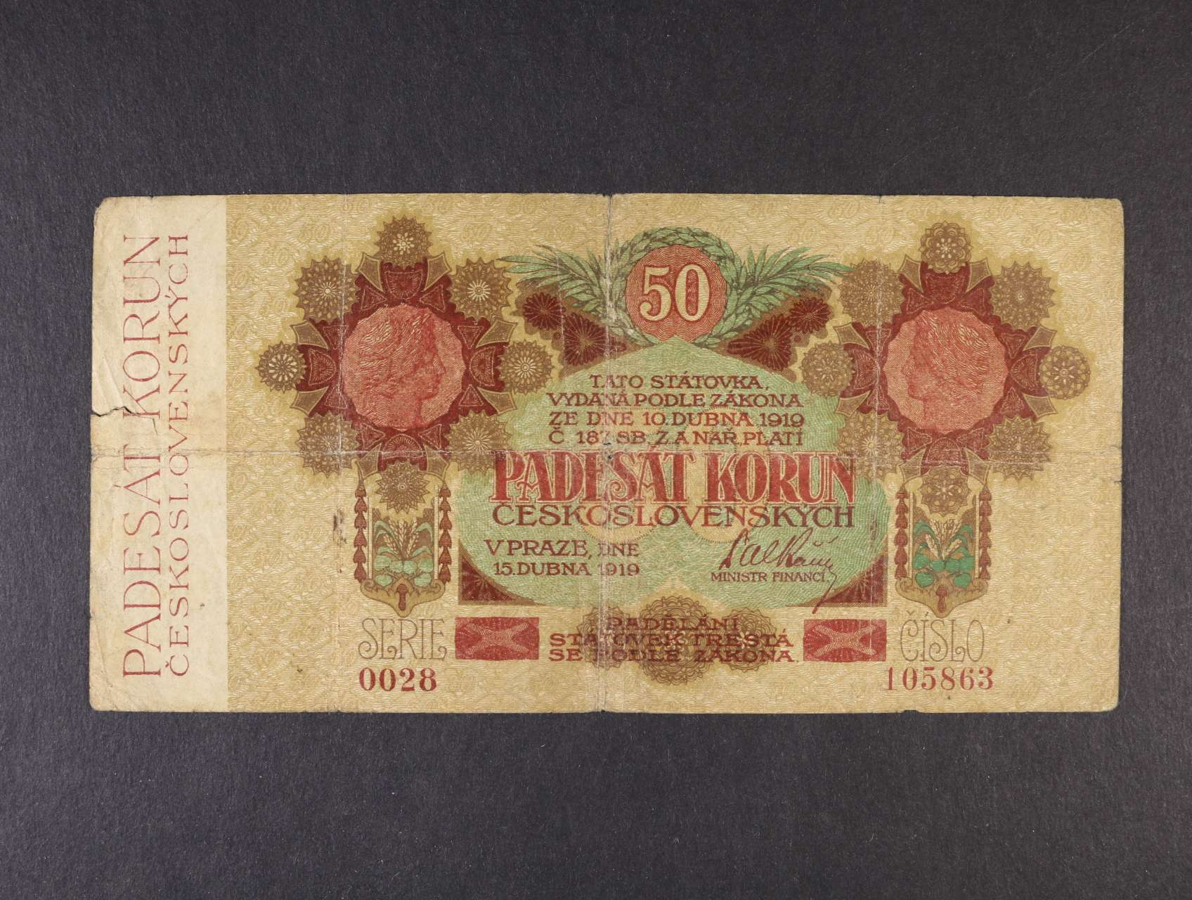50 Kč 15.4.1919 série 0028 úzké číslice, Ba. 11a, Pi. 10a