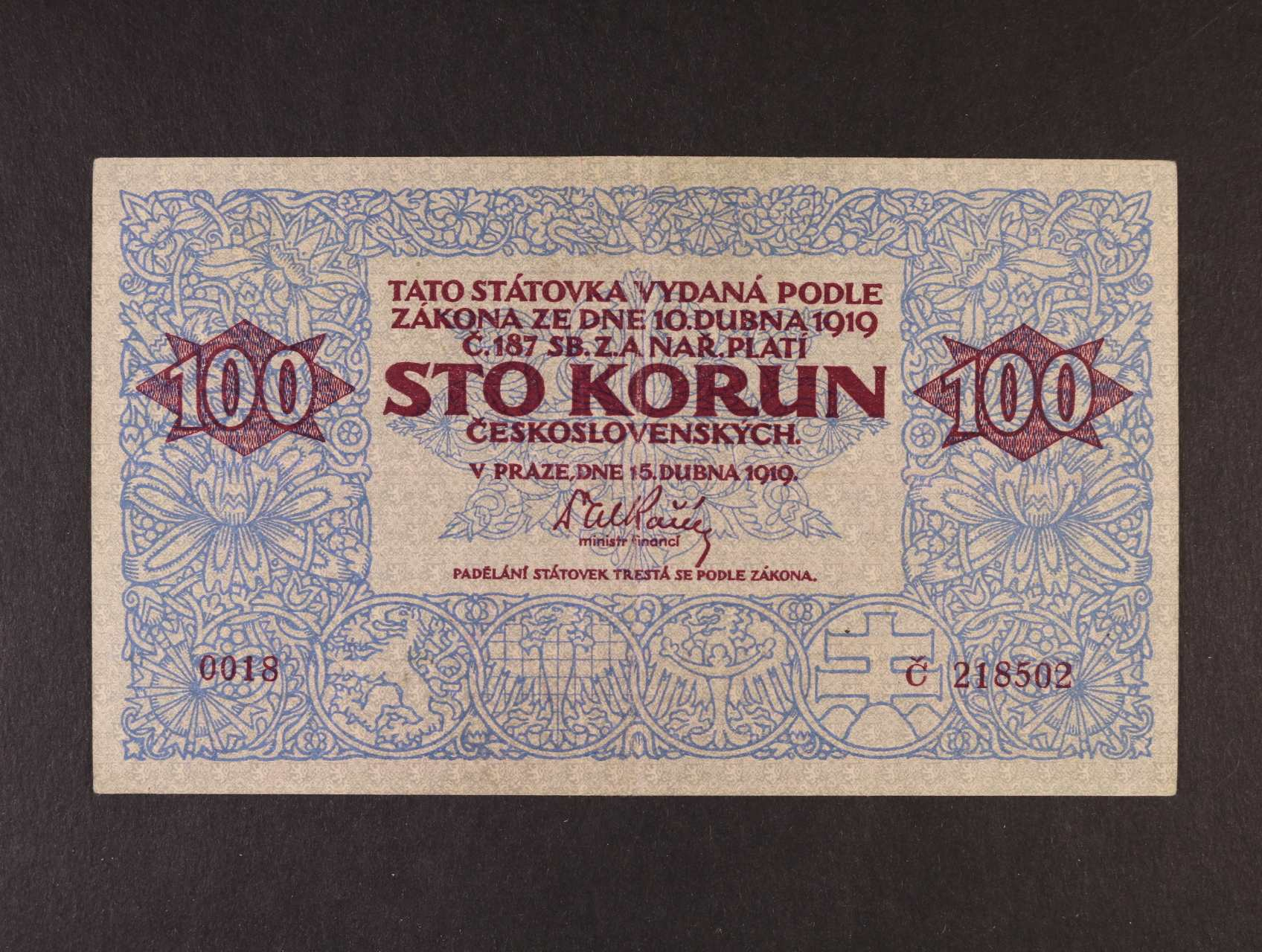 100 Kč 15.4.1919 série 0018, Ba. 12, Pi. 11