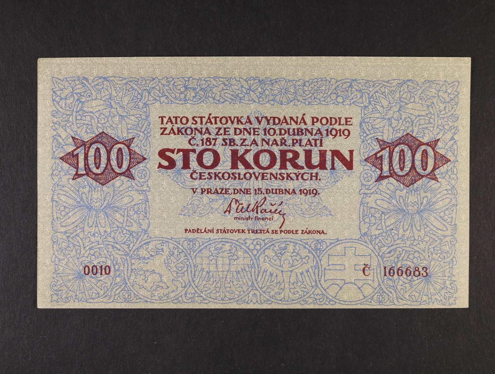 padělek, 100 Kč 15.4.1919 série 0010, dobový tištěný padělek, nezachycený typ Meszaros