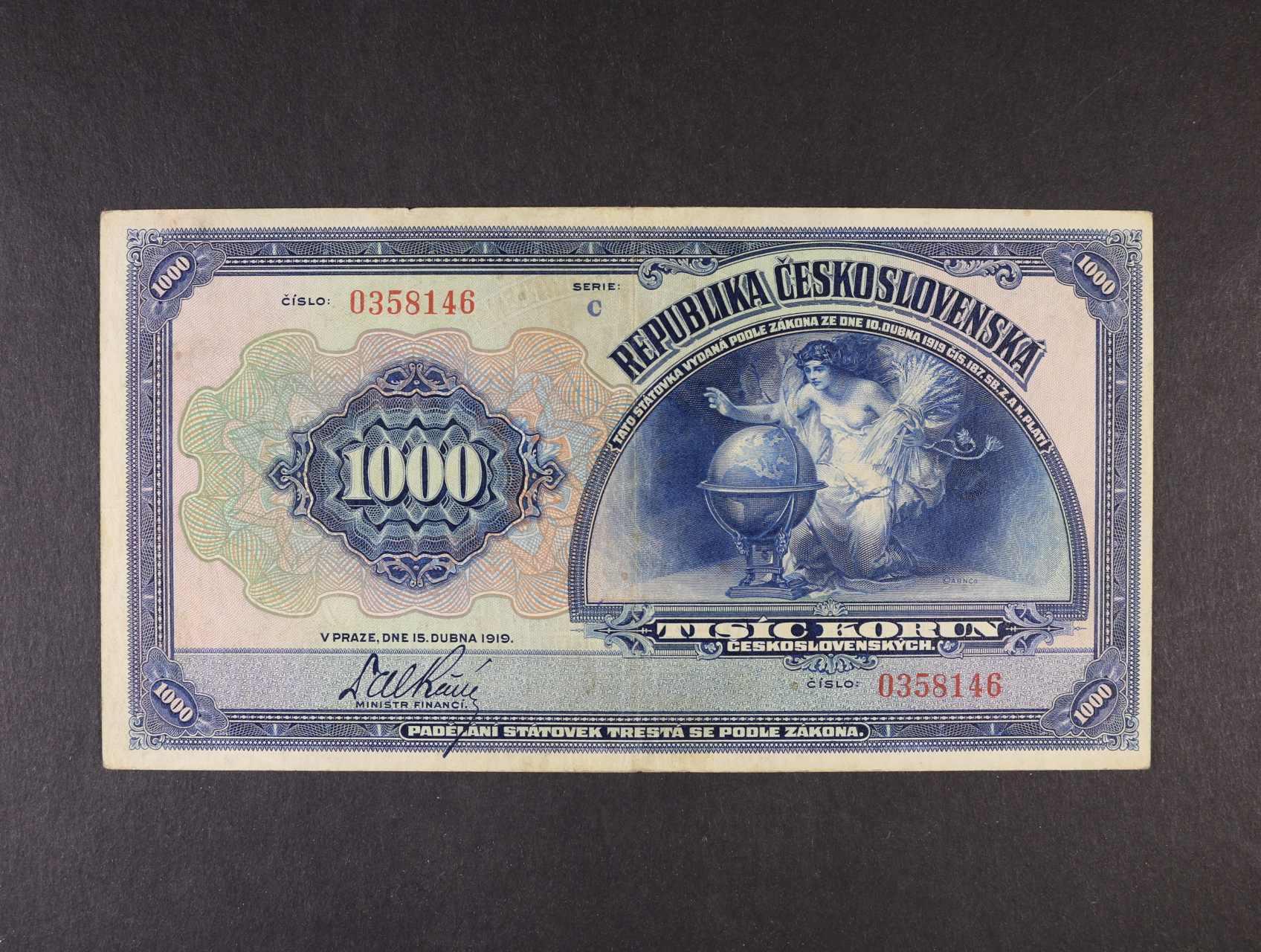 1000 Kč 15.4.1919 série C, Ba. 14, Pi. 13