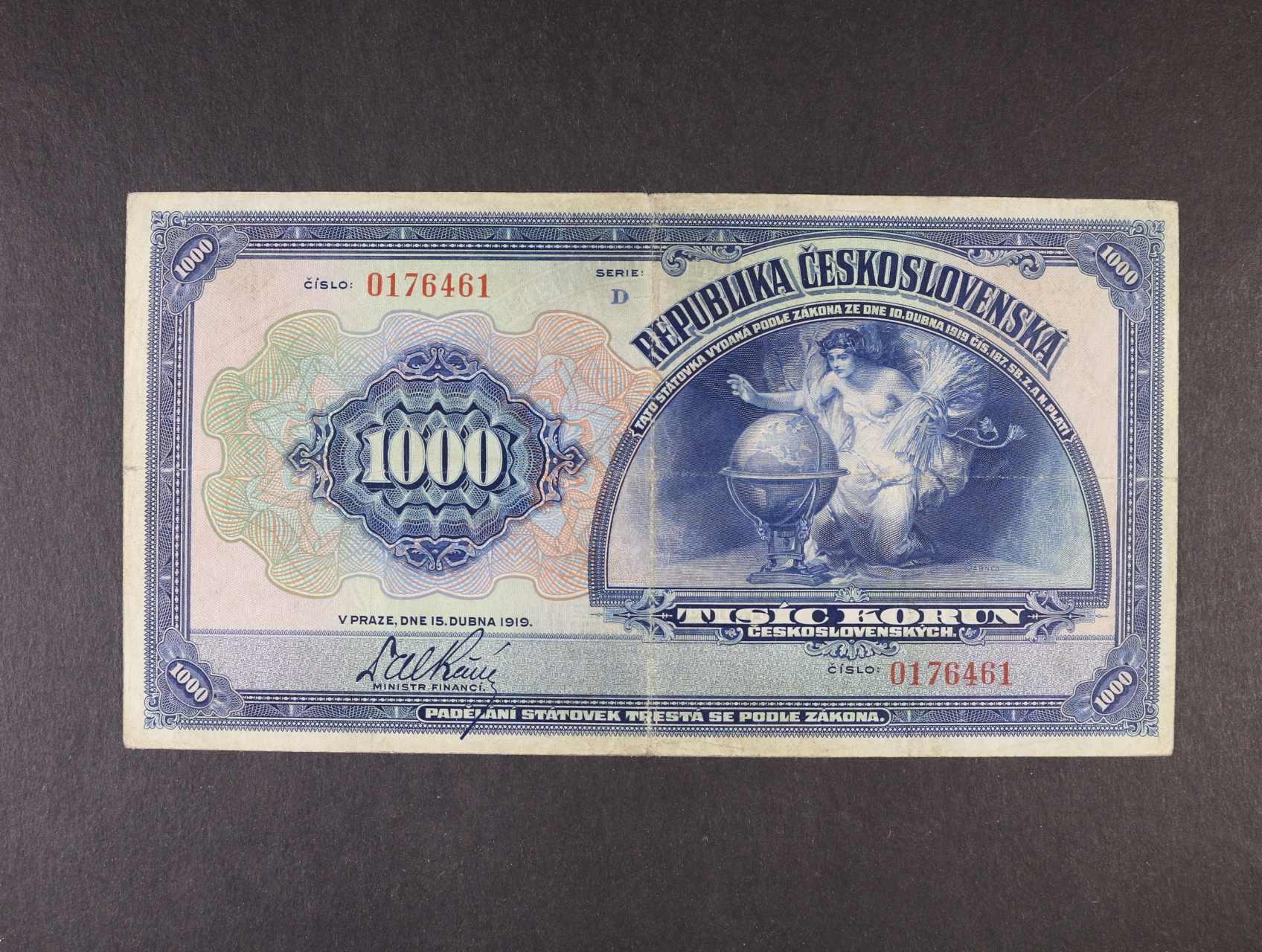 1000 Kč 15.4.1919 série D, Ba. 14, Pi. 13