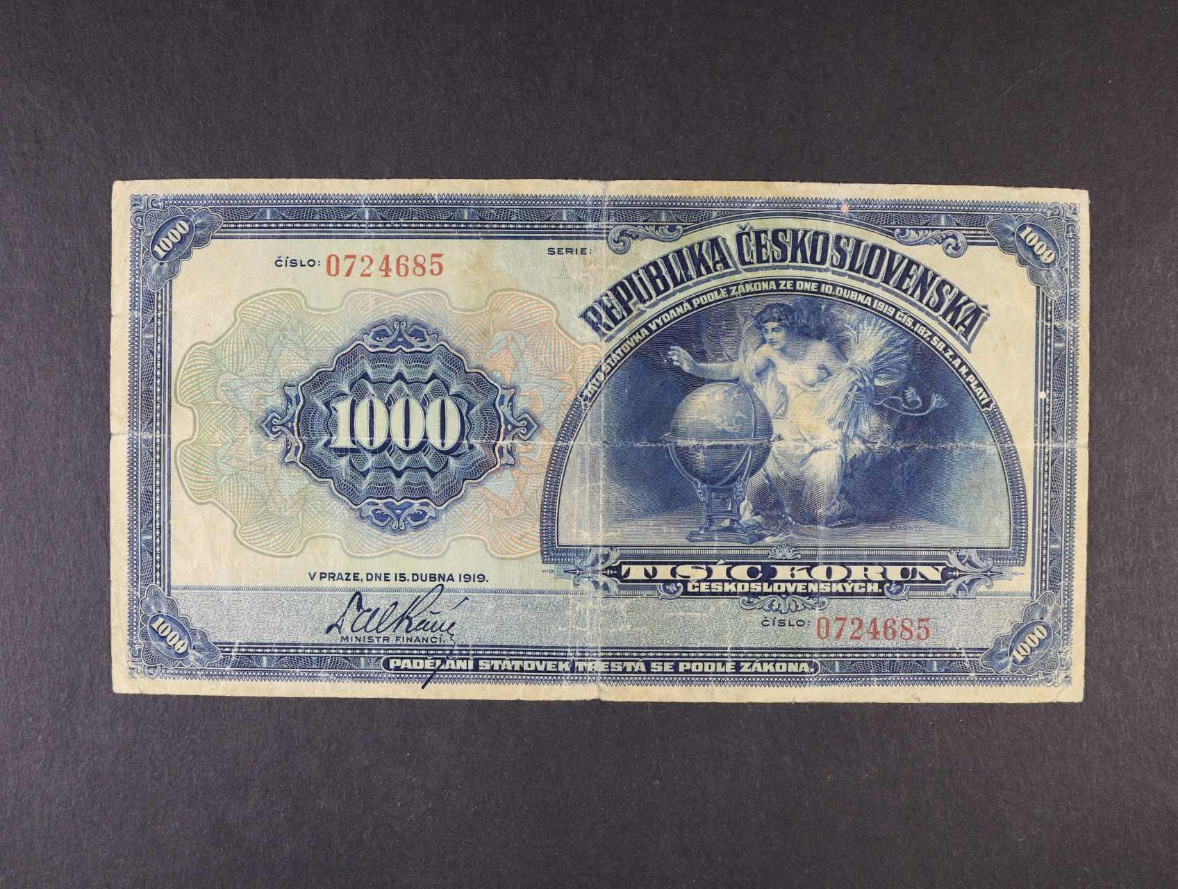 1000 Kč 15.4.1919 nečitelná série, Ba. 14, Pi. 13