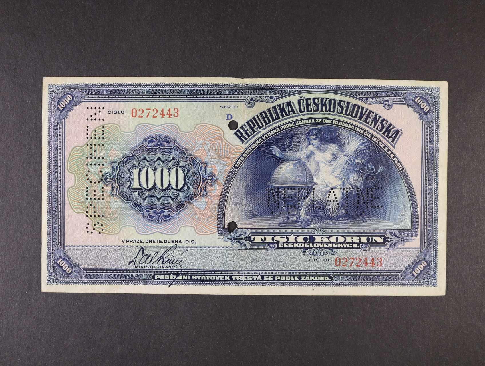 1000 Kč 15.4.1919 série D, bankovní vzor s perf. NEPLATNÉ a SPECIMEN + 2x perf. otvor, Ba. 14, Pi. 13s
