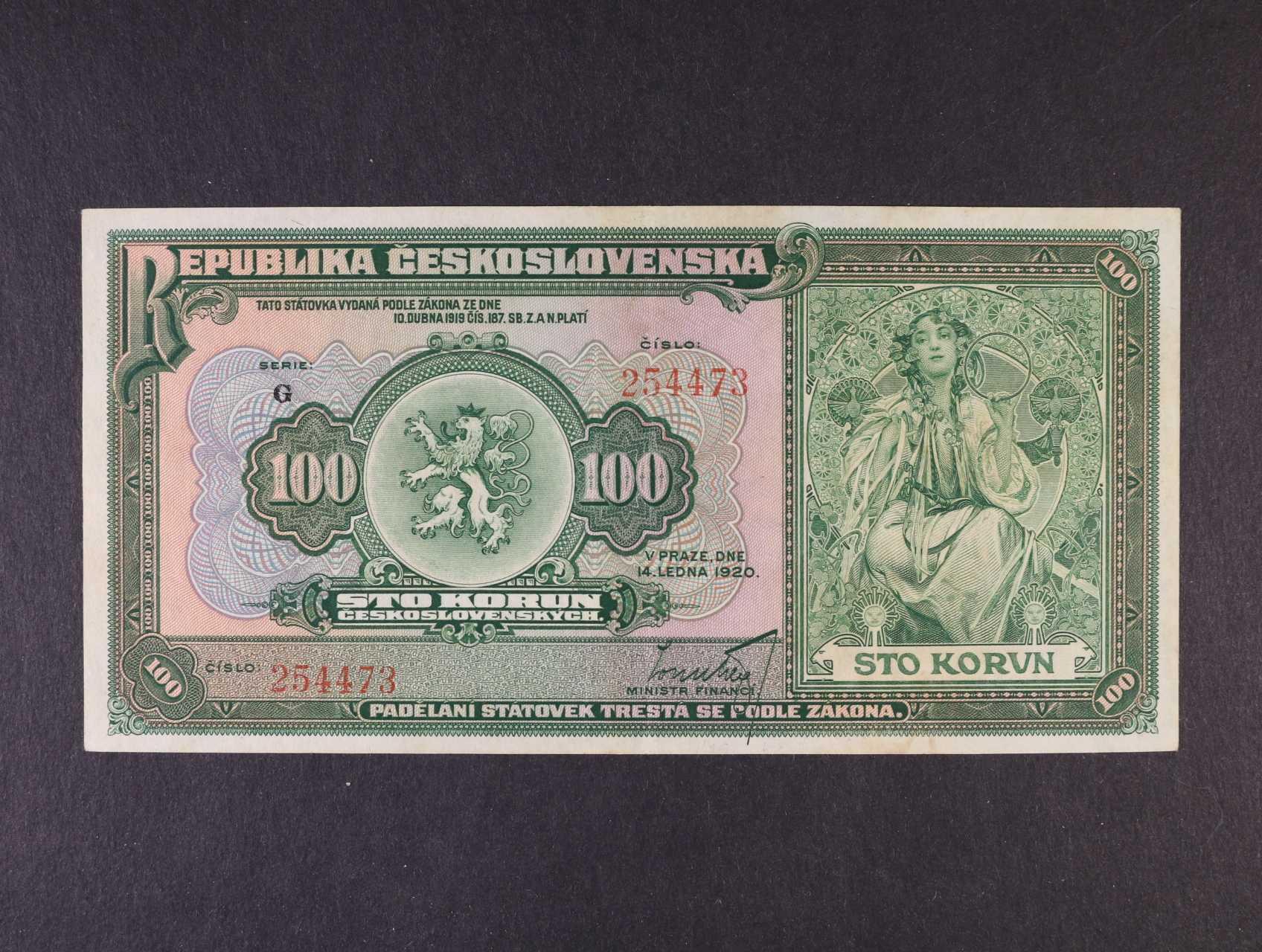 100 Kč 14.1.1920 série G, Ba. 16a, Pi. 17a