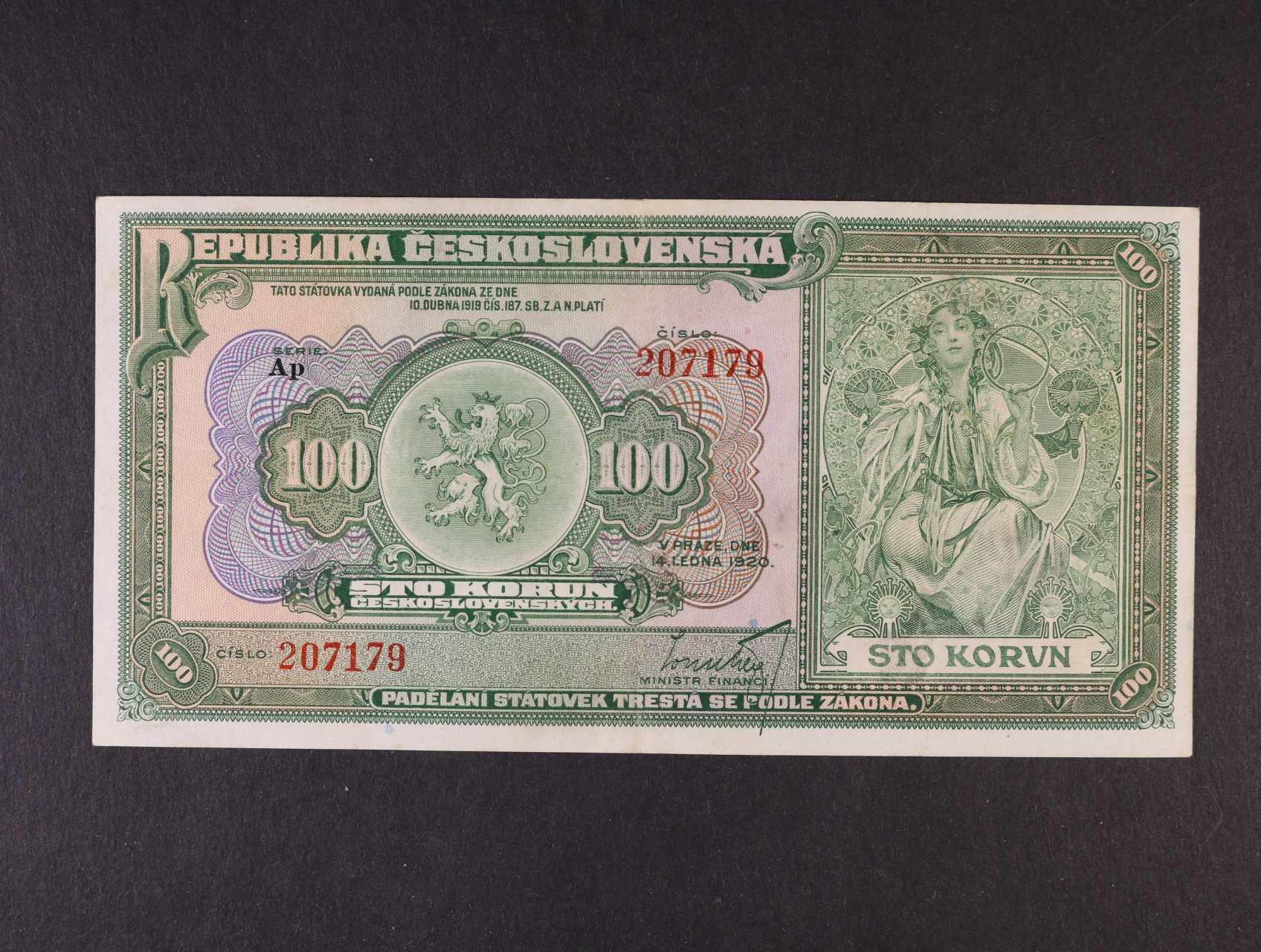 100 Kč 14.1.1920 série Ap, Ba. 16b, Pi. 17a