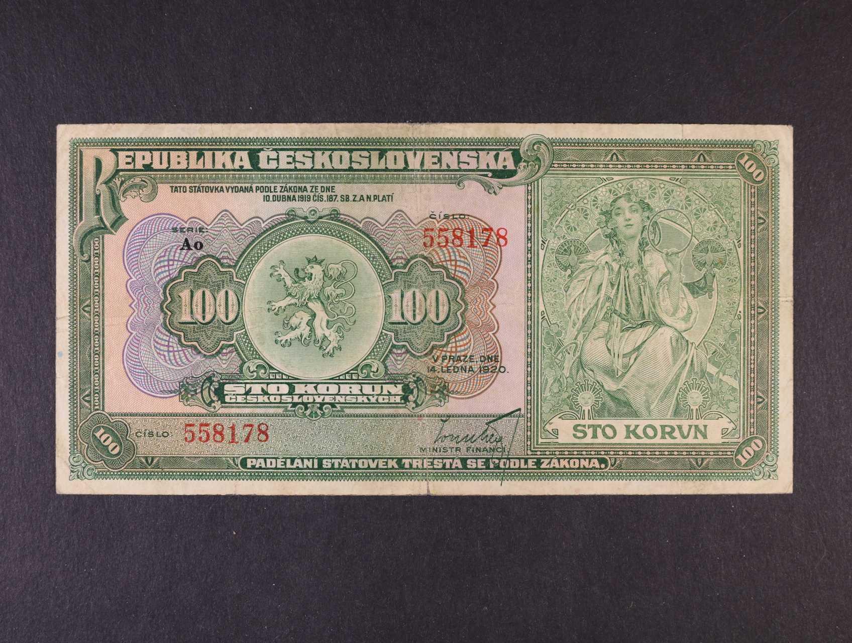 100 Kč 14.1.1920 série Ao, Ba. 16b, Pi. 17a