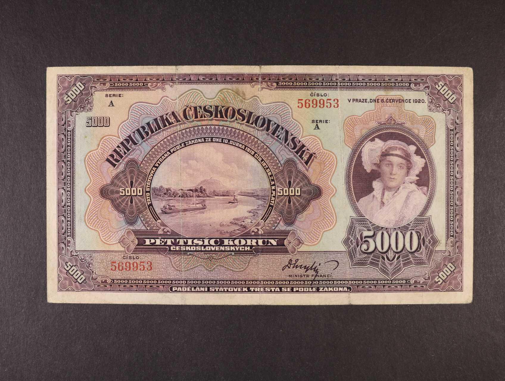5000 Kč 6.7.1920 série A, Ba. 17a, Pi. 19