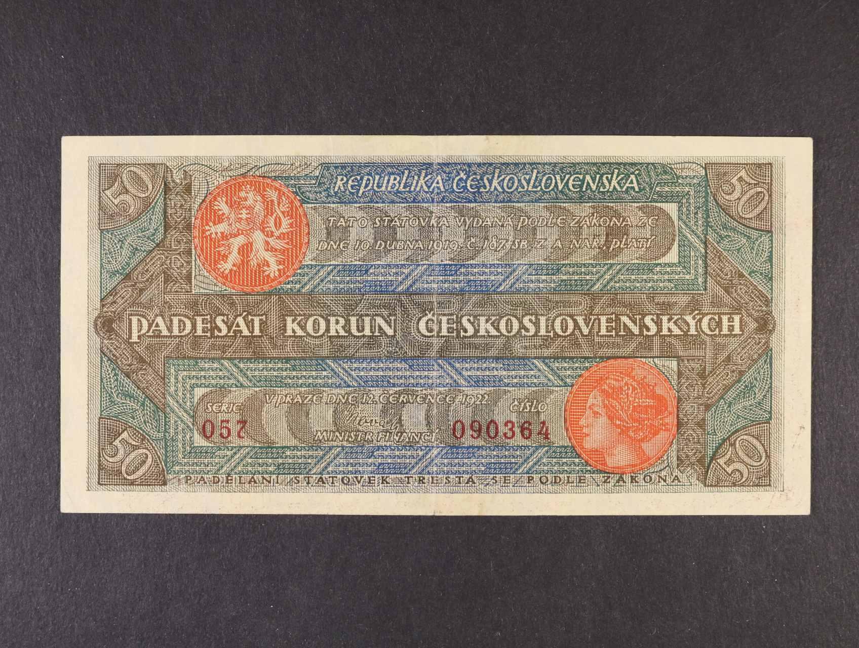 50 Kč 12.7.1922 série 057 číslovač 1b široké číslice, Ba. 19b, Pi. 16a
