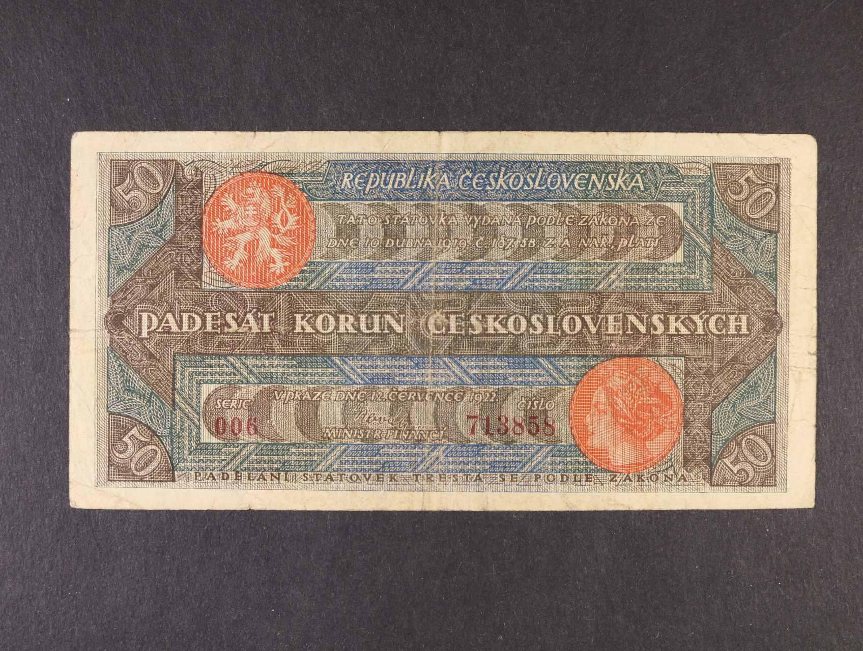 50 Kč 12.7.1922 série 006 číslovač 4d úzké číslice, Ba. 19a, Pi. 16a
