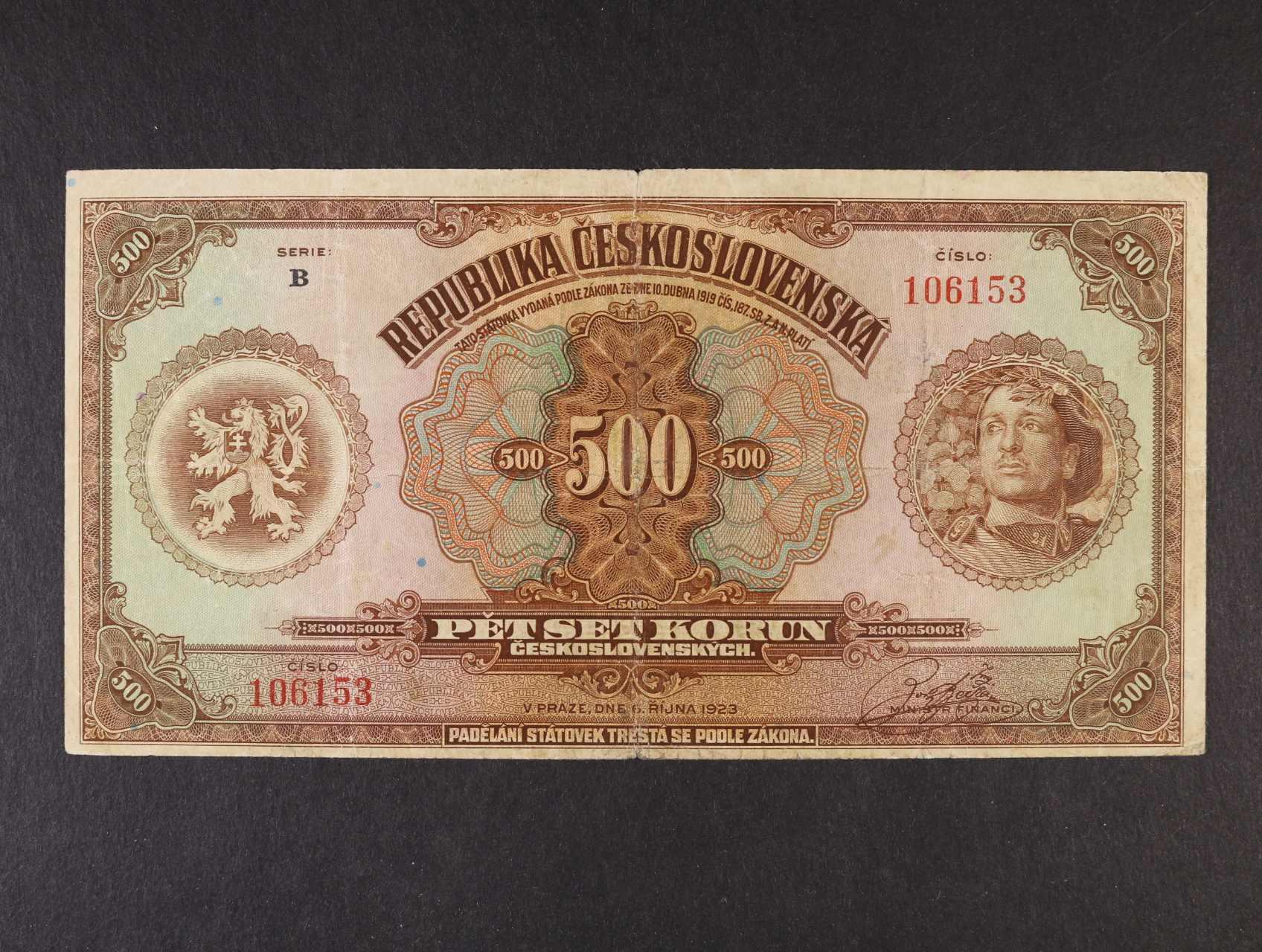 500 Kč 6.10.1923 série B, Ba. 20, Pi. 8, velmi vzácná