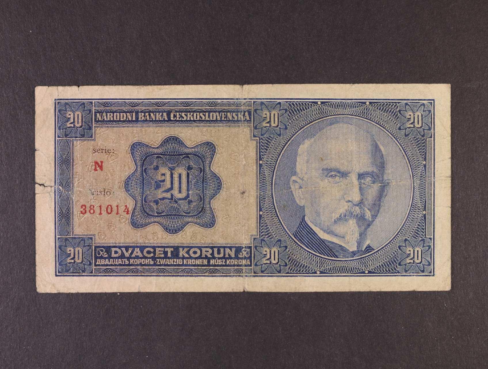 20 Kč 1.10.1926 série N, Ba. 21a, Pi. 21a