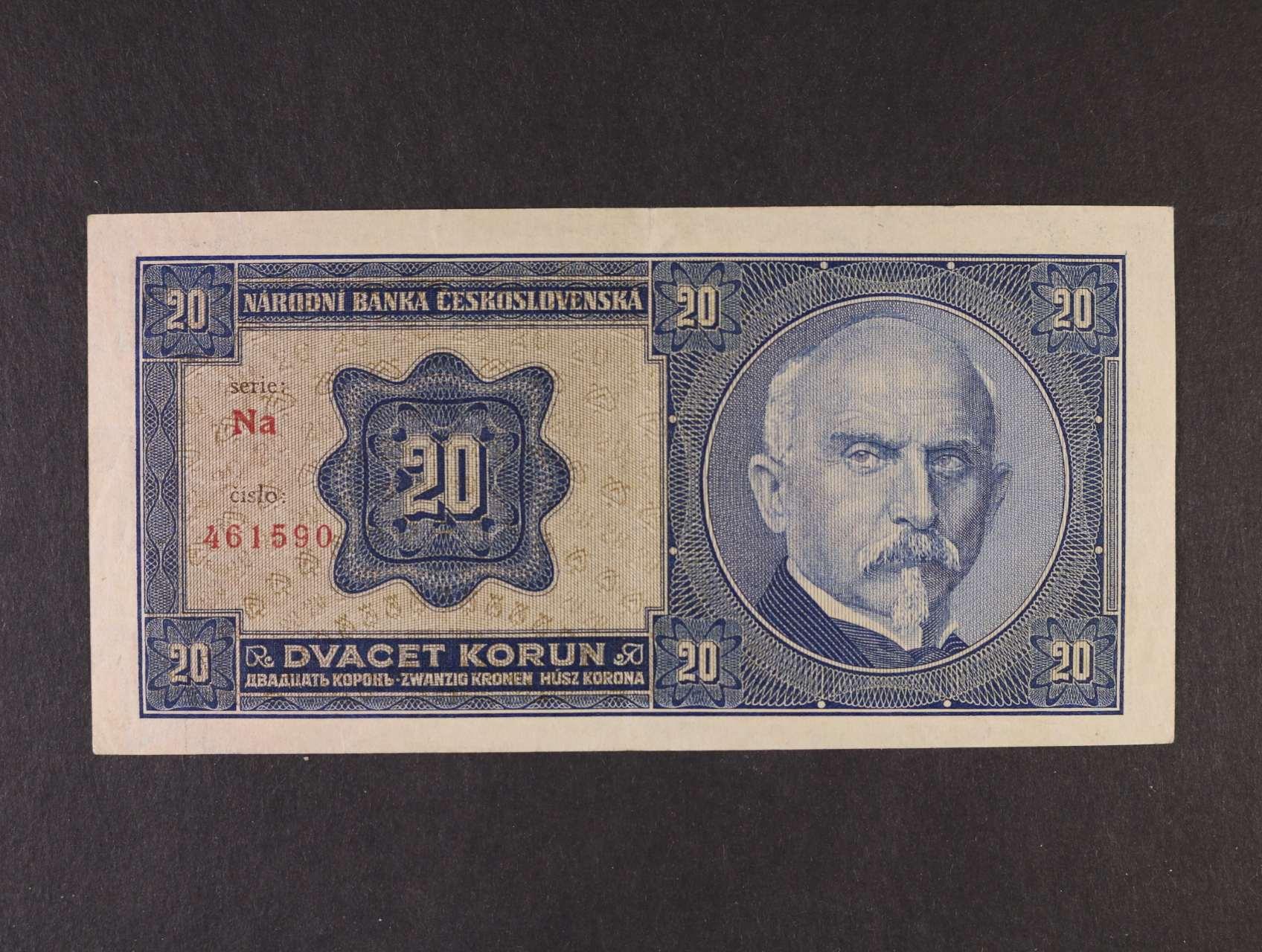 20 Kč 1.10.1926 série Nb tisk Haase Praha, Ba. 21b1, Pi. 21a