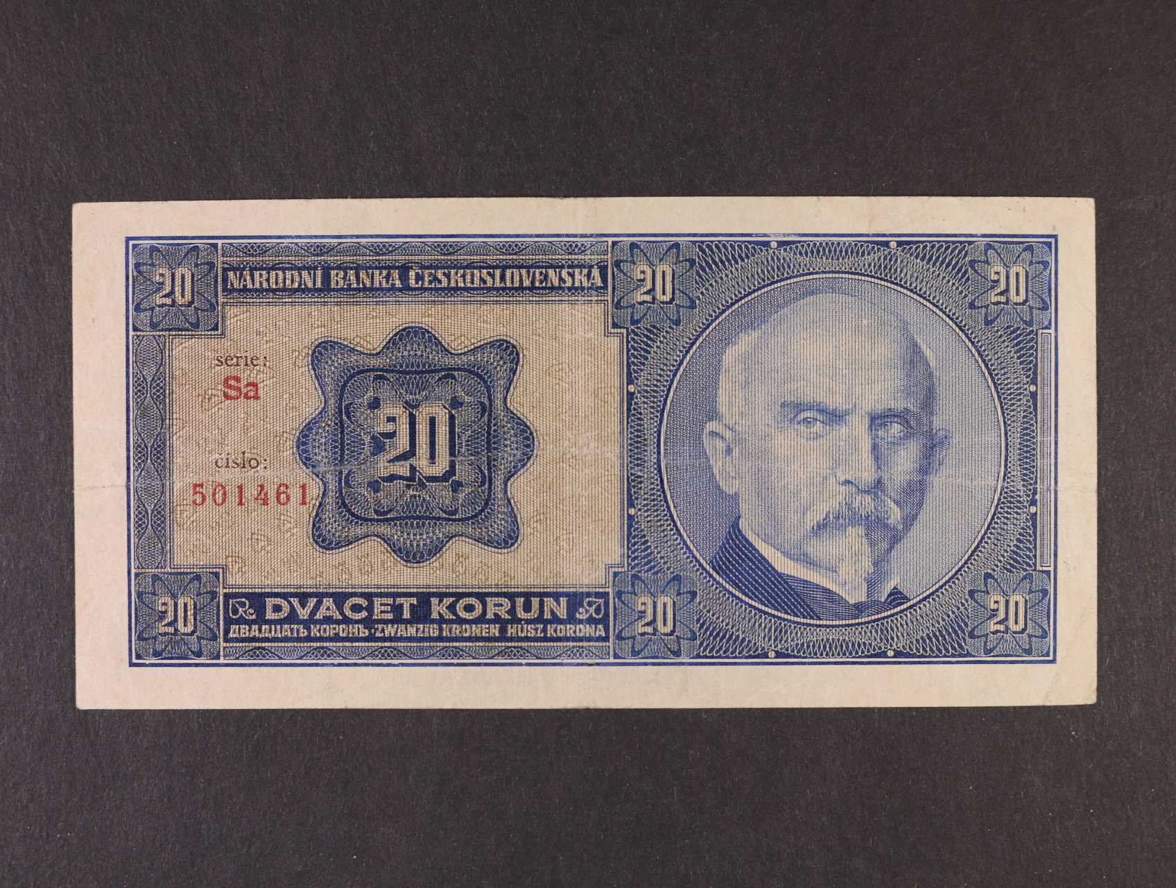 20 Kč 1.10.1926 série Sa tisk Haase Praha, Ba. 21b1, Pi. 21a