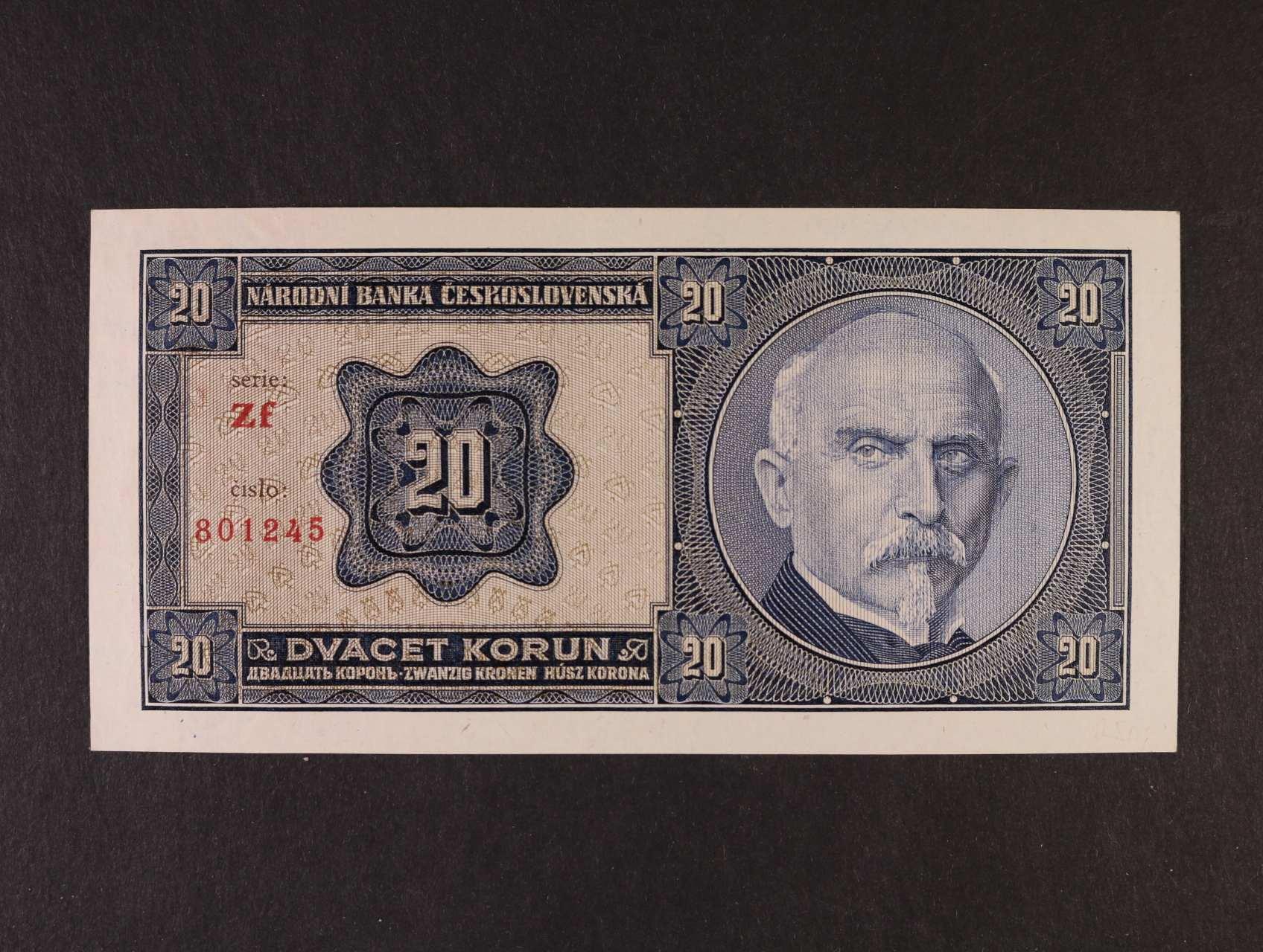 20 Kč 1.10.1926 série Zf, Ba. 21b2, Pi. 21a