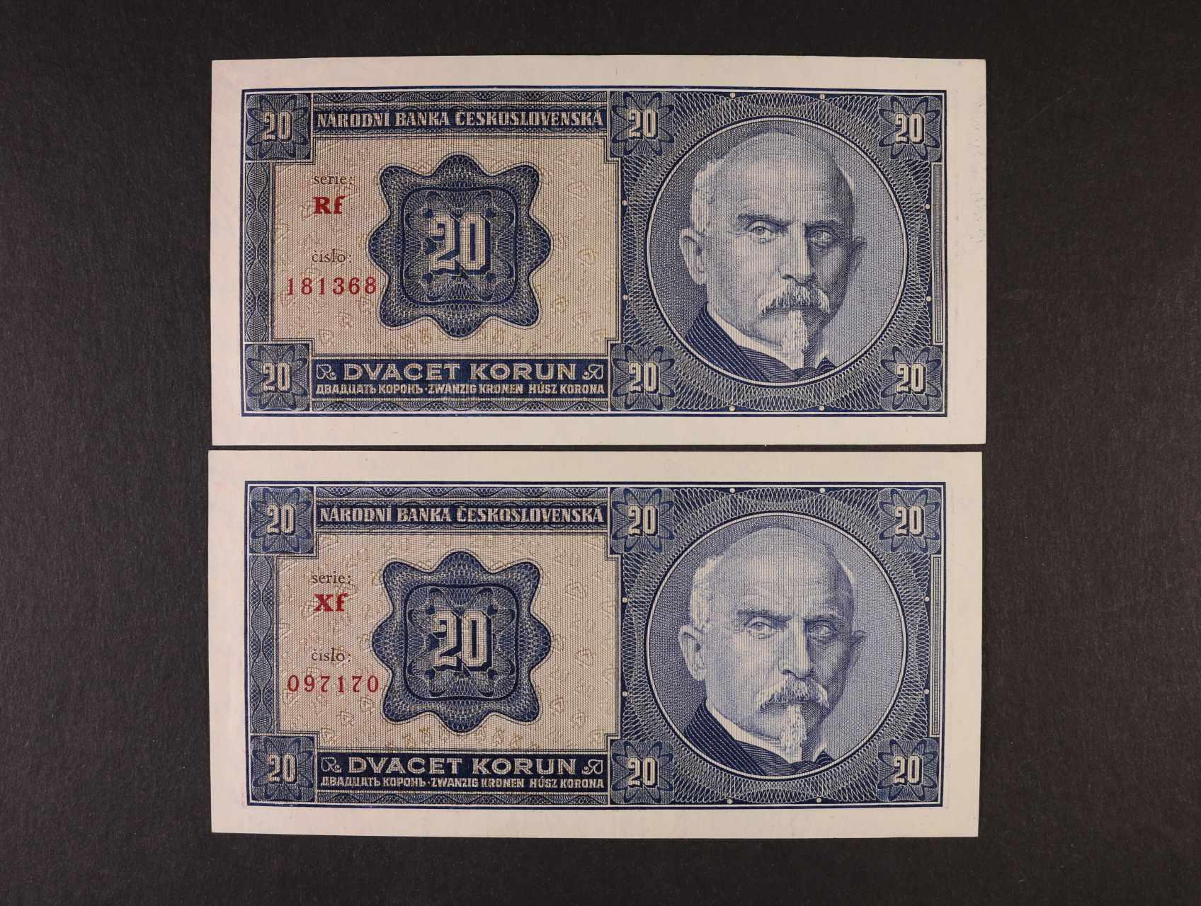 20 Kč 1.10.1926 série Rf, Xf, Ba. 21b2, Pi. 21a, 2ks