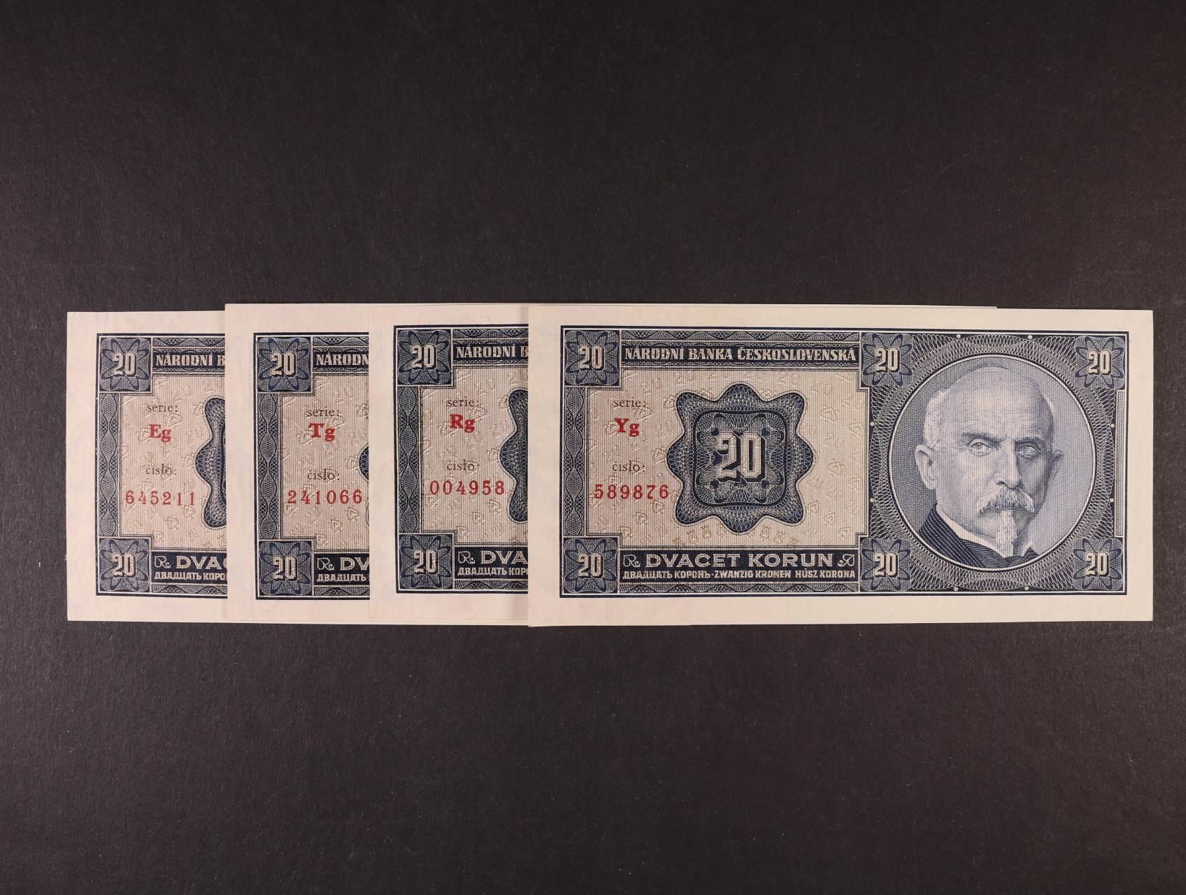 20 Kč 1.10.1926 série Eg, Rg, Tg, Yg, Ba. 21b2, Pi. 21a, 4ks