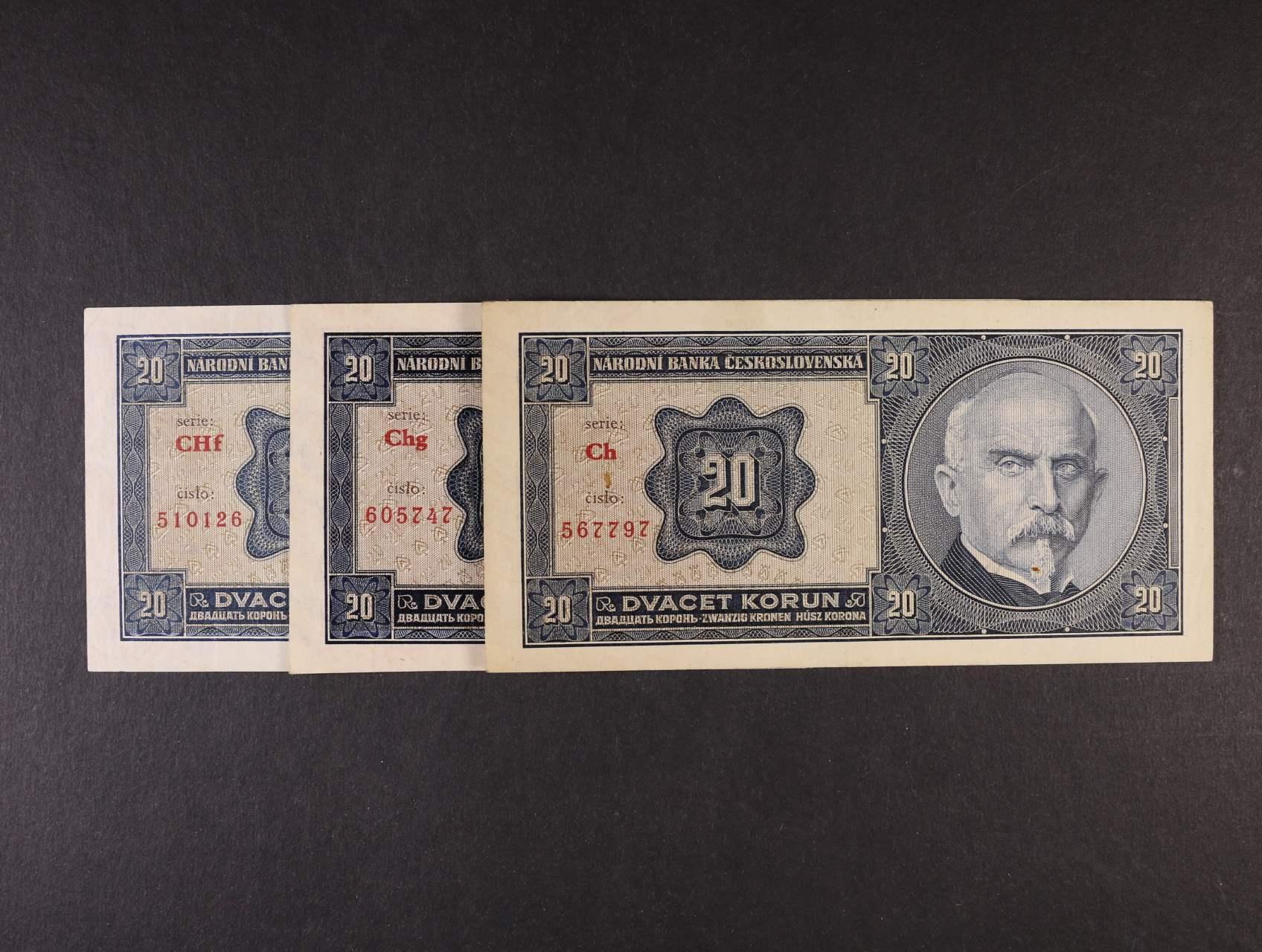20 Kč 1.10.1926 série Ch, Chg, CHf, Ba. 21b2, Pi. 21a, 3ks
