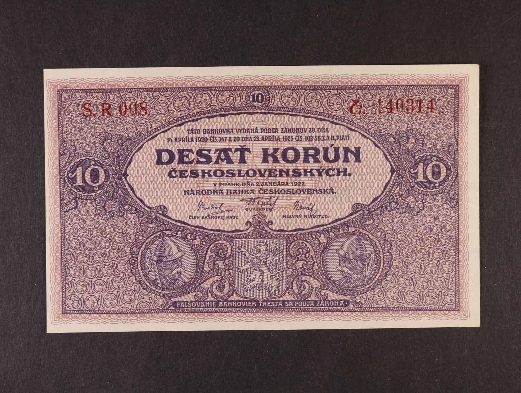 10 Kč 2.1.1927 série R 008, Ba. 22b, Pi. 20a