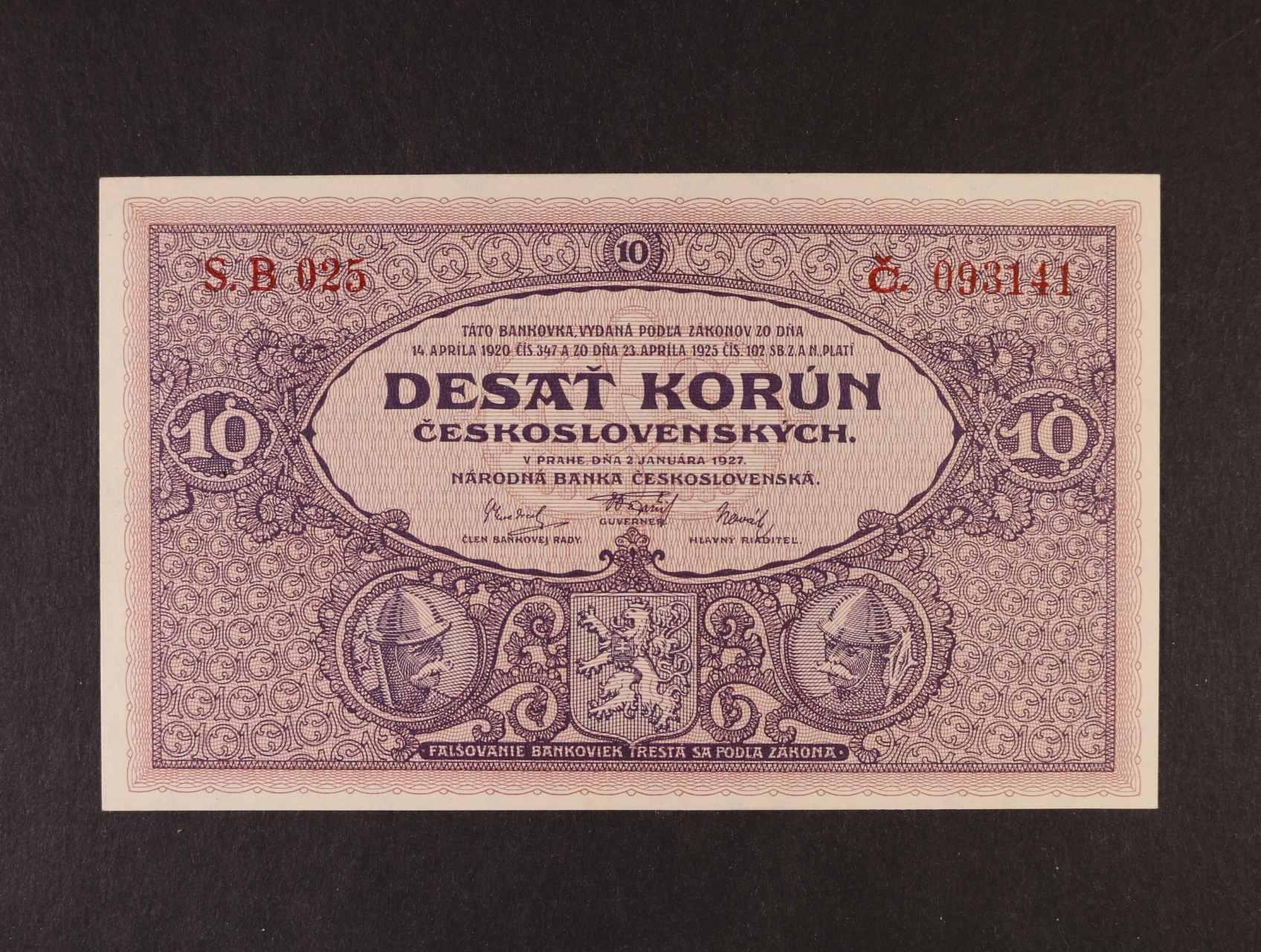10 Kč 2.1.1927 série B 025, Ba. 22d, Pi. 20a