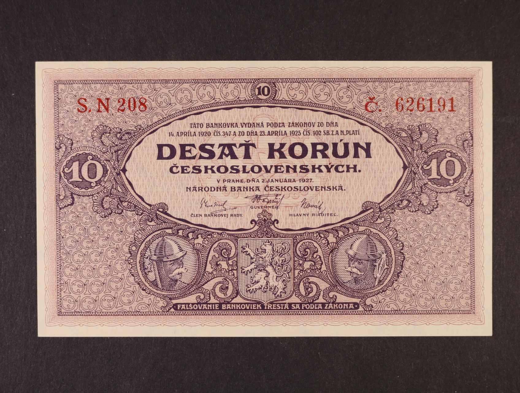 10 Kč 2.1.1927 série N 208, Ba. 22e, Pi. 20a