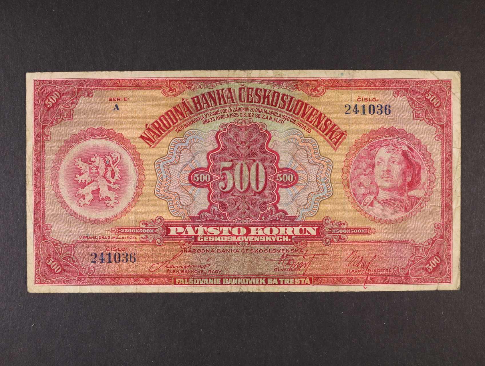 500 Kč 2.5.1929 série A