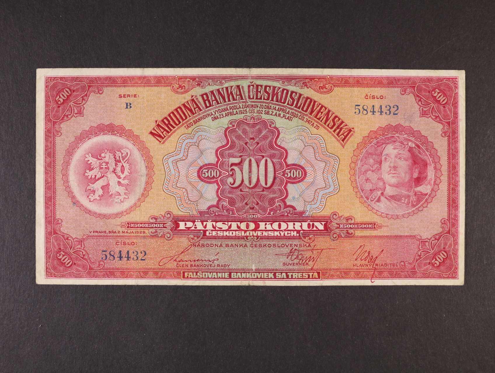 500 Kč 2.5.1929 série B