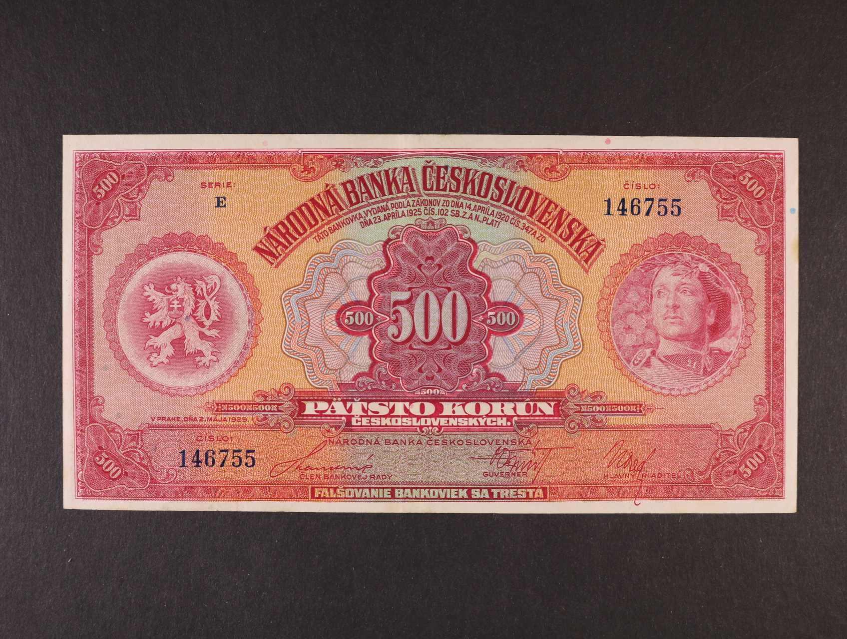 500 Kč 2.5.1929 série E, Ba. 23c, Pi. 24a