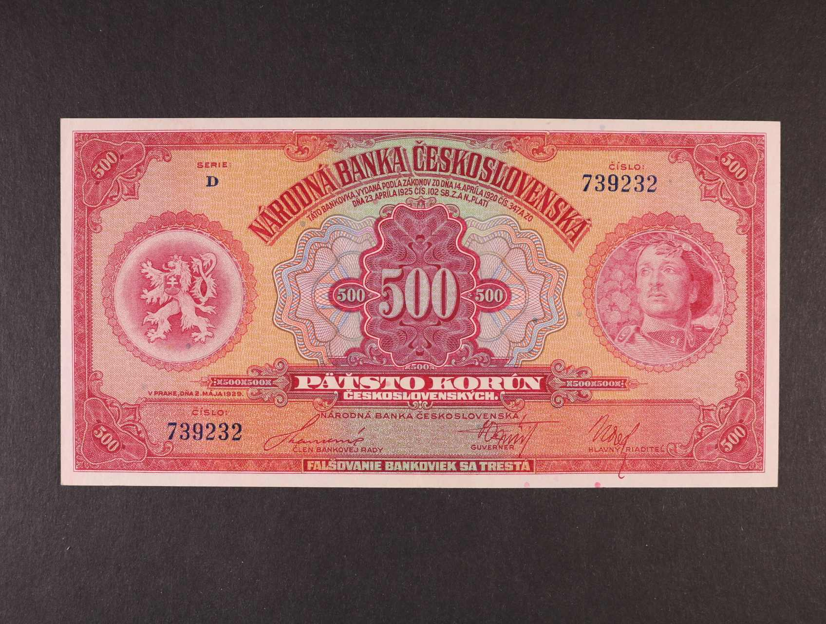 500 Kč 2.5.1929 série D, Ba. 23c, Pi. 24a
