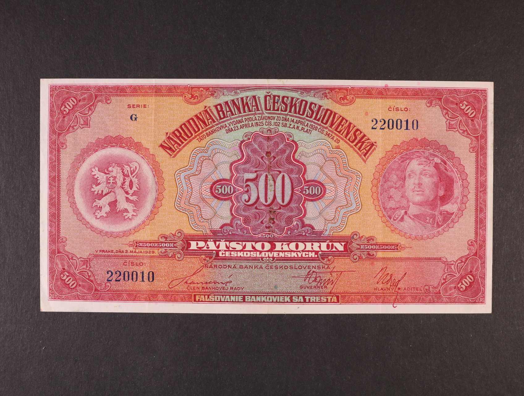 500 Kč 2.5.1929 série G, Ba. 23c, Pi. 24a