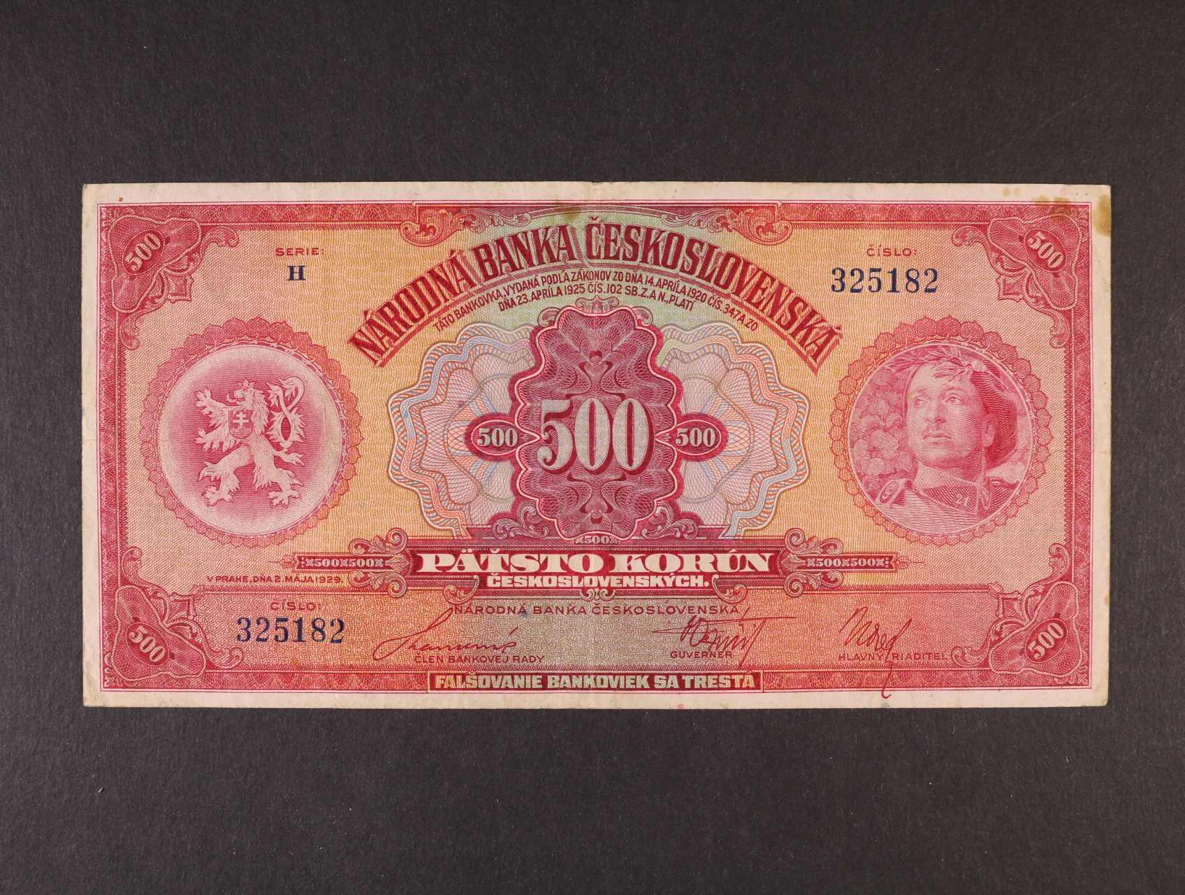 500 Kč 2.5.1929 série H, Ba. 23c, Pi. 24a