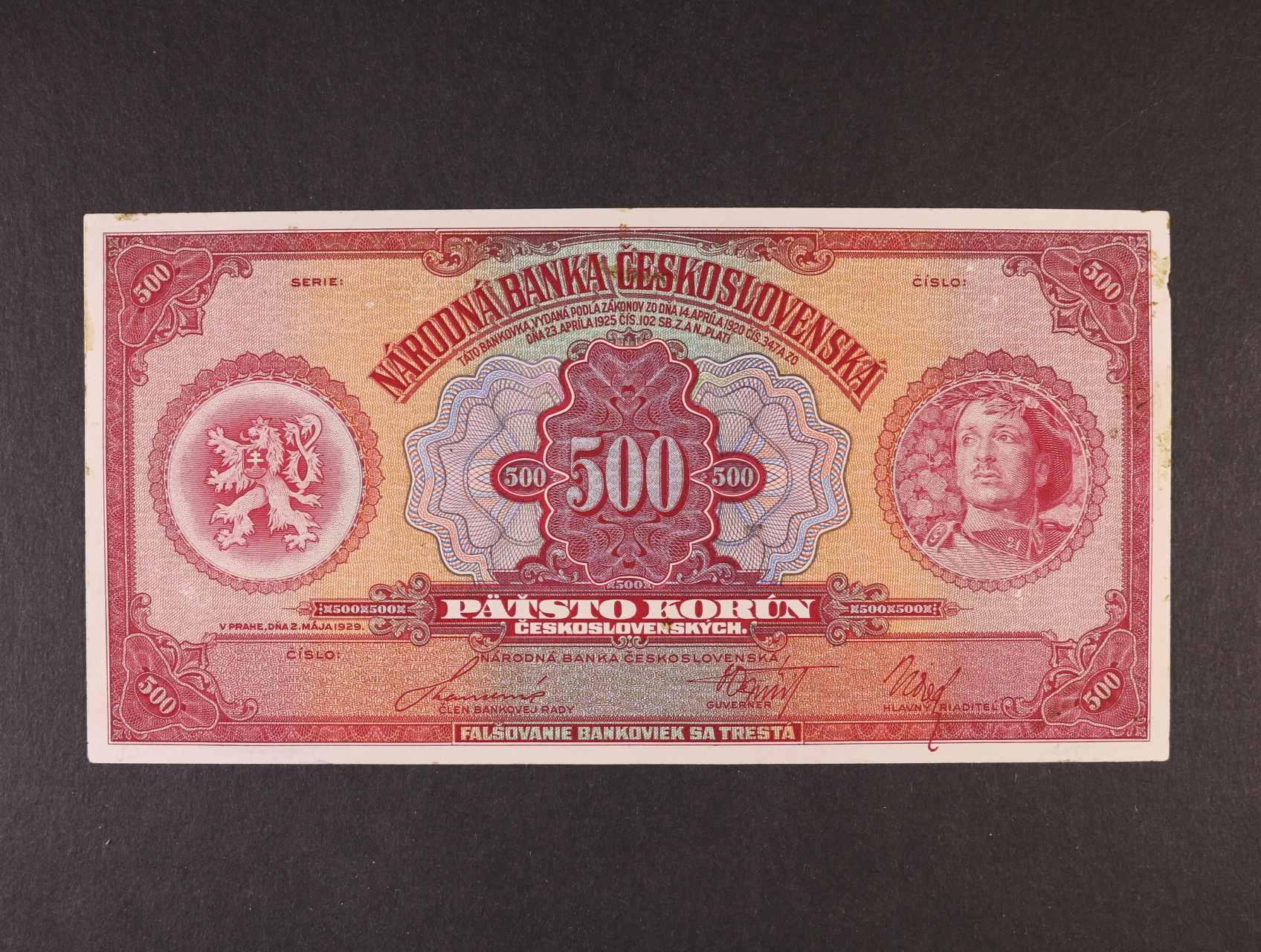 500 Kč 2.5.1929 jednostranný nátisk lícní strany bez série a číslovače, slepeno z kartonu, var.