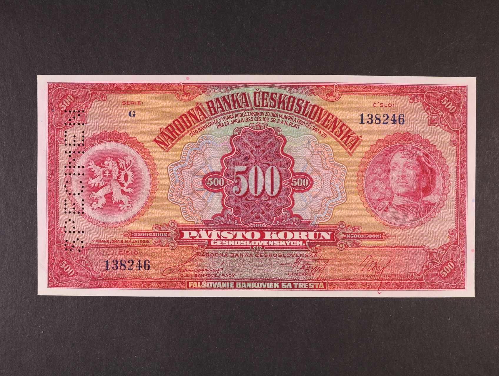 500 Kč 2.5.1929 série G bankovní vzor, svisle perf. SPECIMEN, Ba. 23c, Pi. 24s