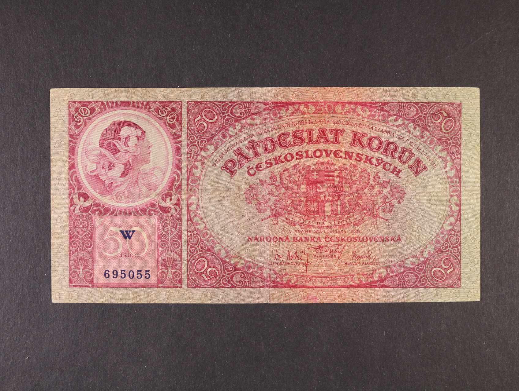 50 Kč 1.10.1929 série W, Ba. 24a1, Pi. 22a