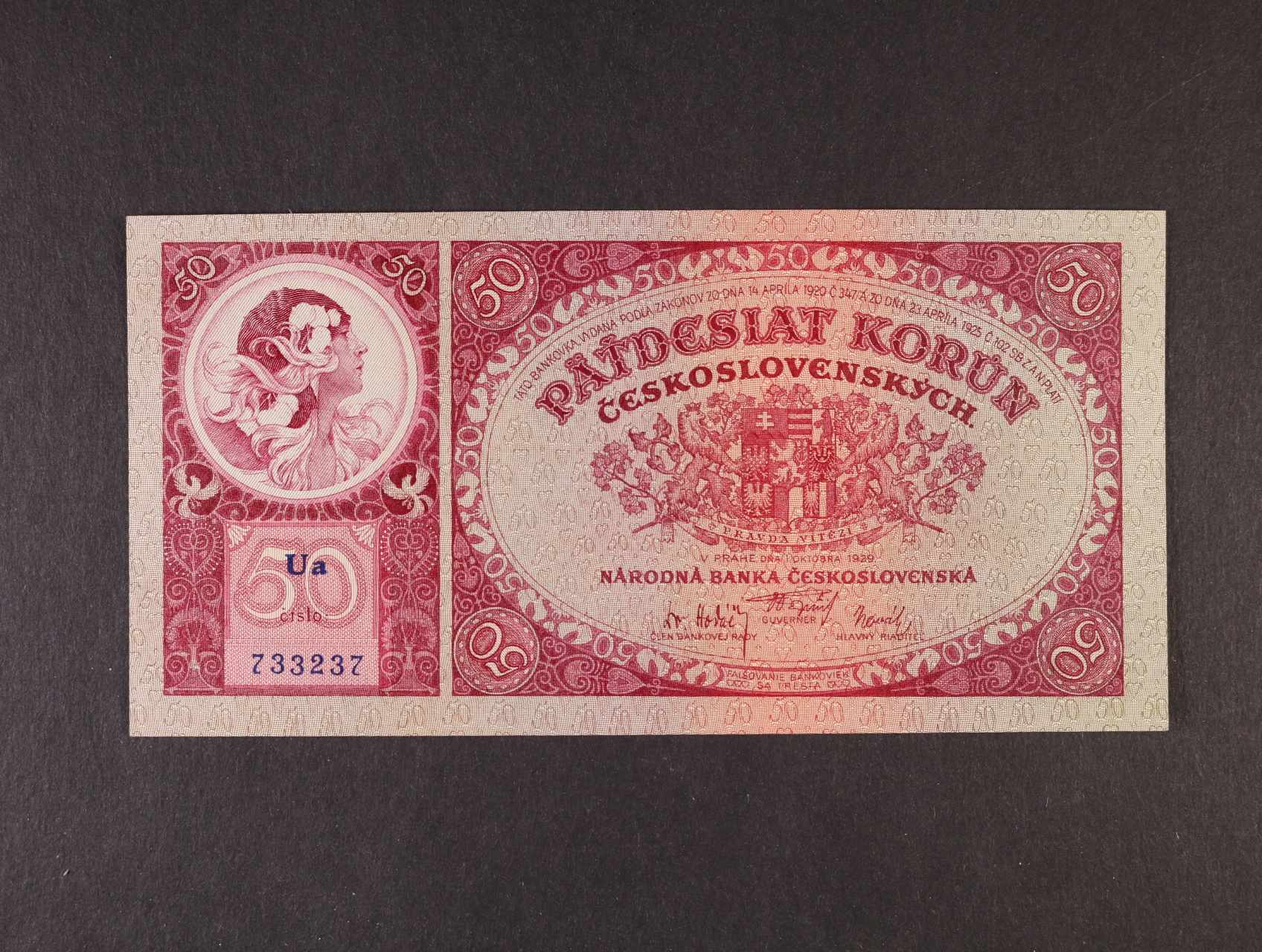 50 Kč 1.10.1929 série Ua, Ba. 24b, Pi. 22a
